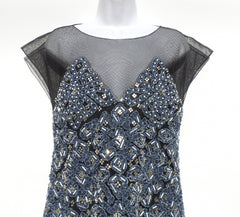 CHANEL Black Sheer Mesh Tulle Blue Denim Embellished Silver Beaded Short Dress M