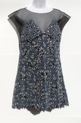 'Sold' CHANEL Black Sheer Mesh Tulle Blue Denim Embellished Silver Beaded Short Dress M