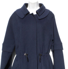 OSCAR DE LA RENTA Navy Blue Black Zip Sleeve Drawstring Wool Blend Coat 6