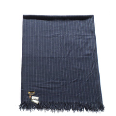 'Sold' LORO PIANA Plaid Gessato Navy Blue Pinstripe Cashmere Fringe Trim Throw Blanket
