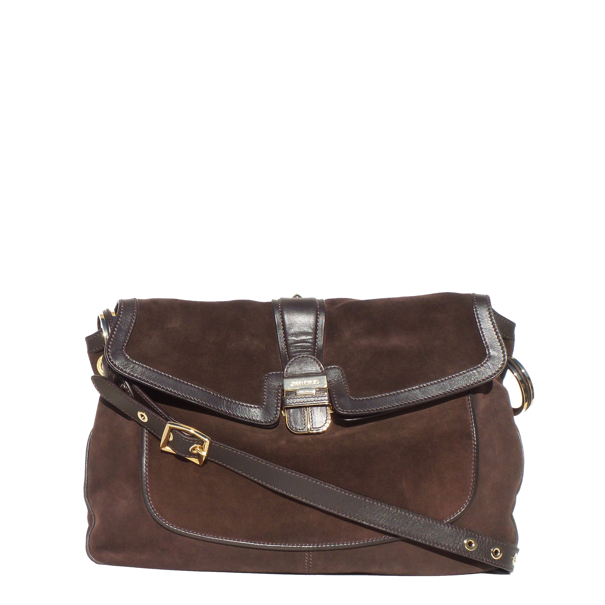 JIMMY CHOO Chocolate Brown Leather Suede Flap Saddle Bag GC