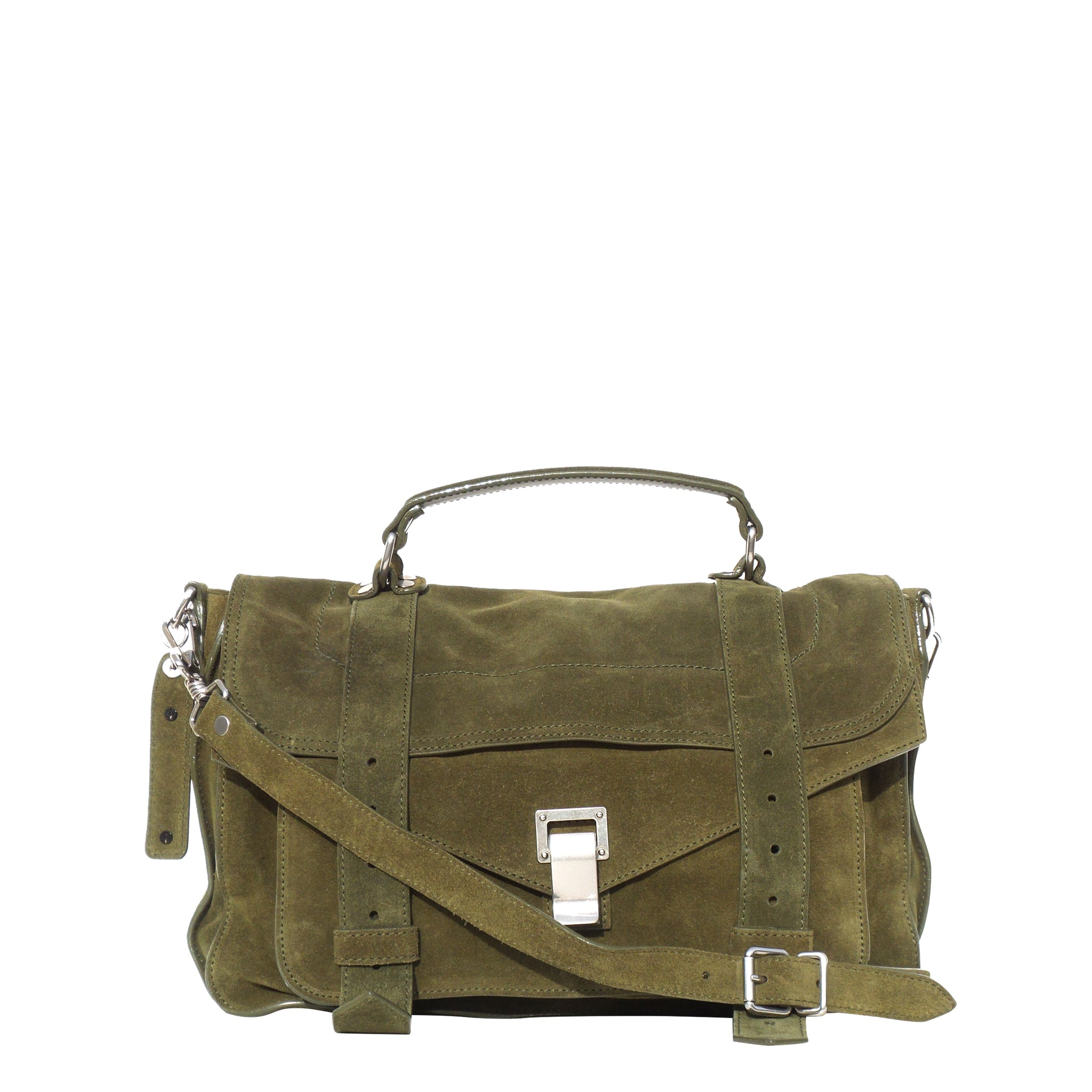 4070d7871d16 PROENZA SCHOULER Olive Green Suede Medium PS1 Messenger Bag EC – Encore  Resale.com