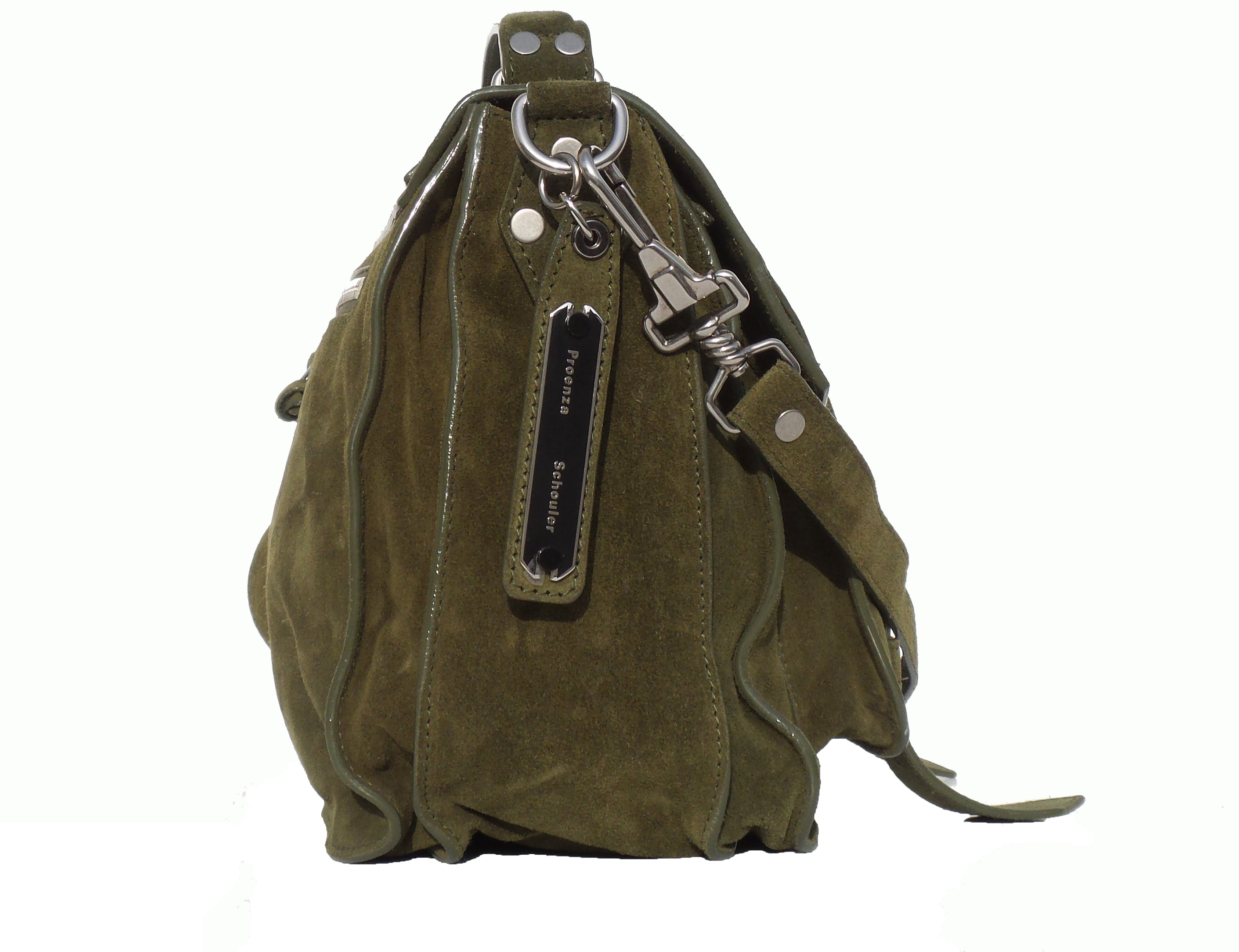 'Sold' PROENZA SCHOULER Olive Green Suede Medium PS1 Messenger Bag EC
