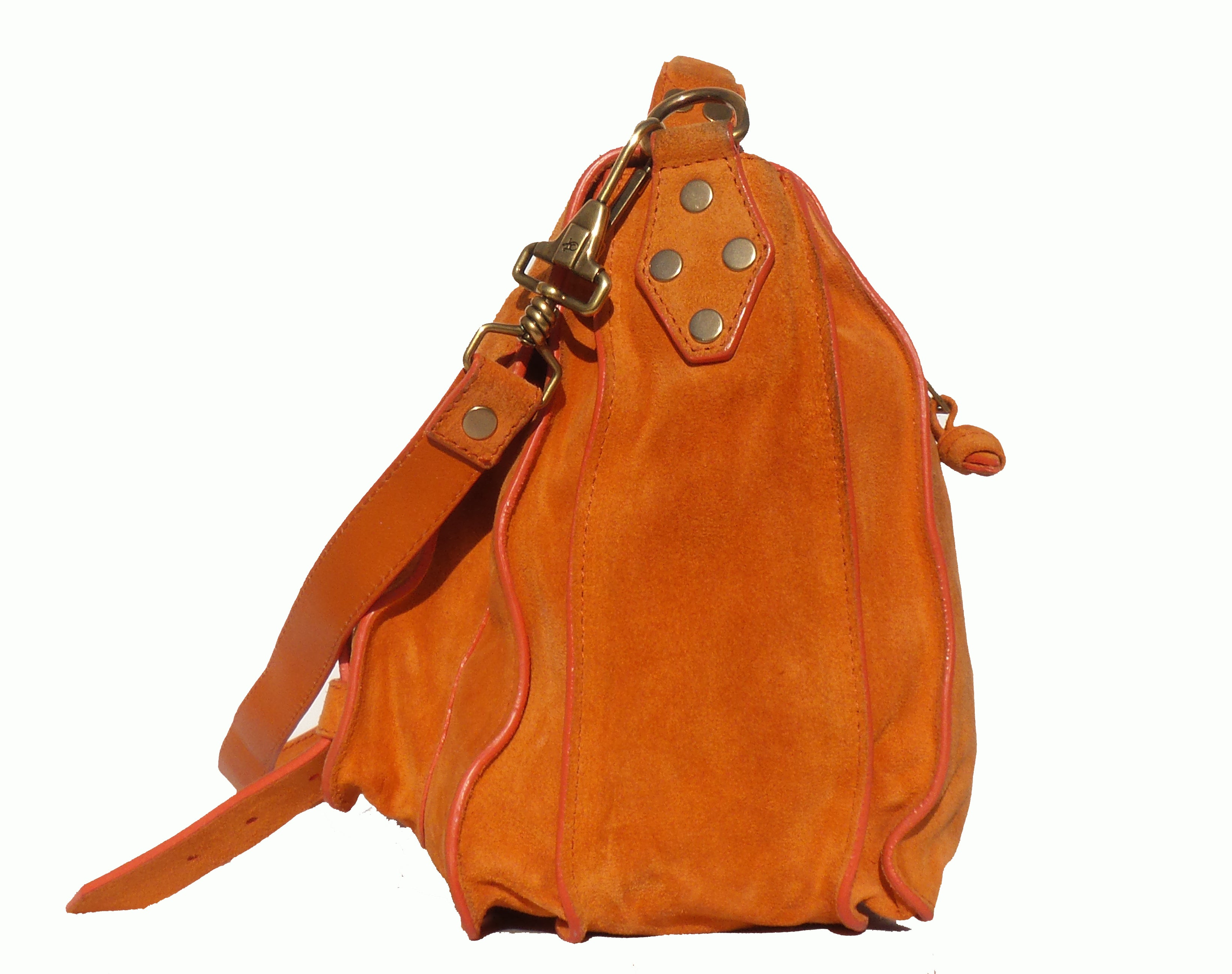 PROENZA SCHOULER Orange Suede Medium PS1 Classic Messenger Bag