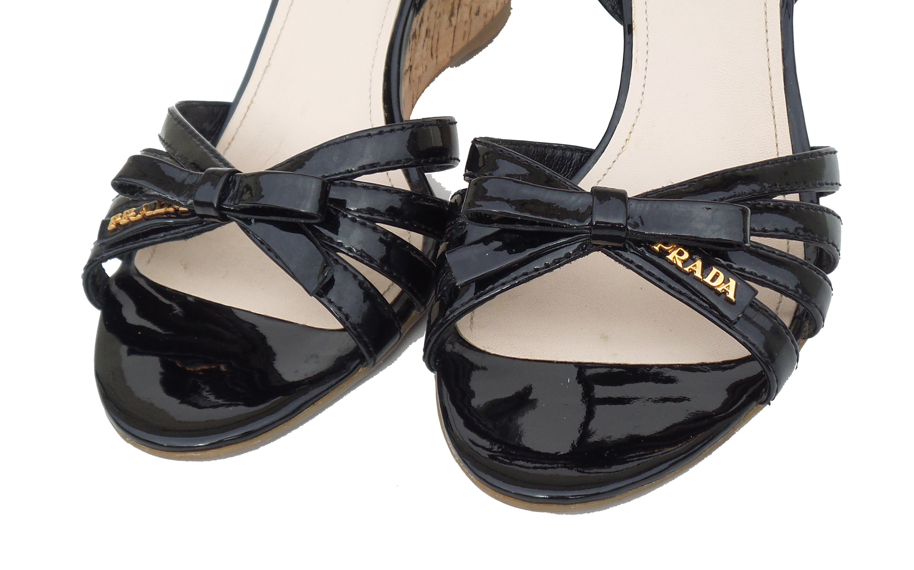 4717d024cfbc PRADA Sport Black Patent Leather Strappy Bow Cork Wedge Heel Sandals 39.5