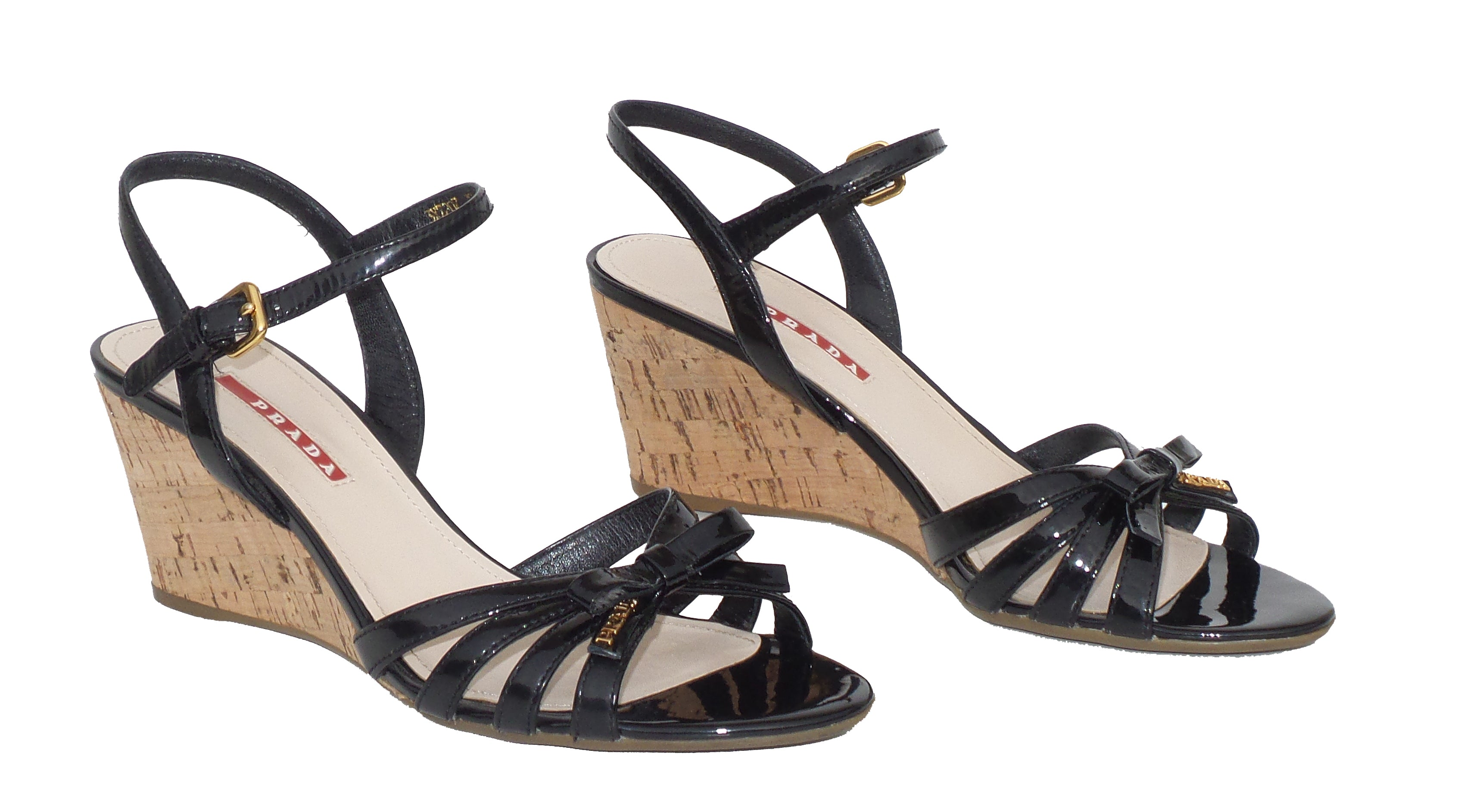 c7b7e650 Sold' PRADA Sport Black Patent Leather Strappy Bow Cork Wedge Heel ...