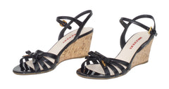 PRADA Sport Black Patent Leather Strappy Bow Cork Wedge Heel Sandals 39.5