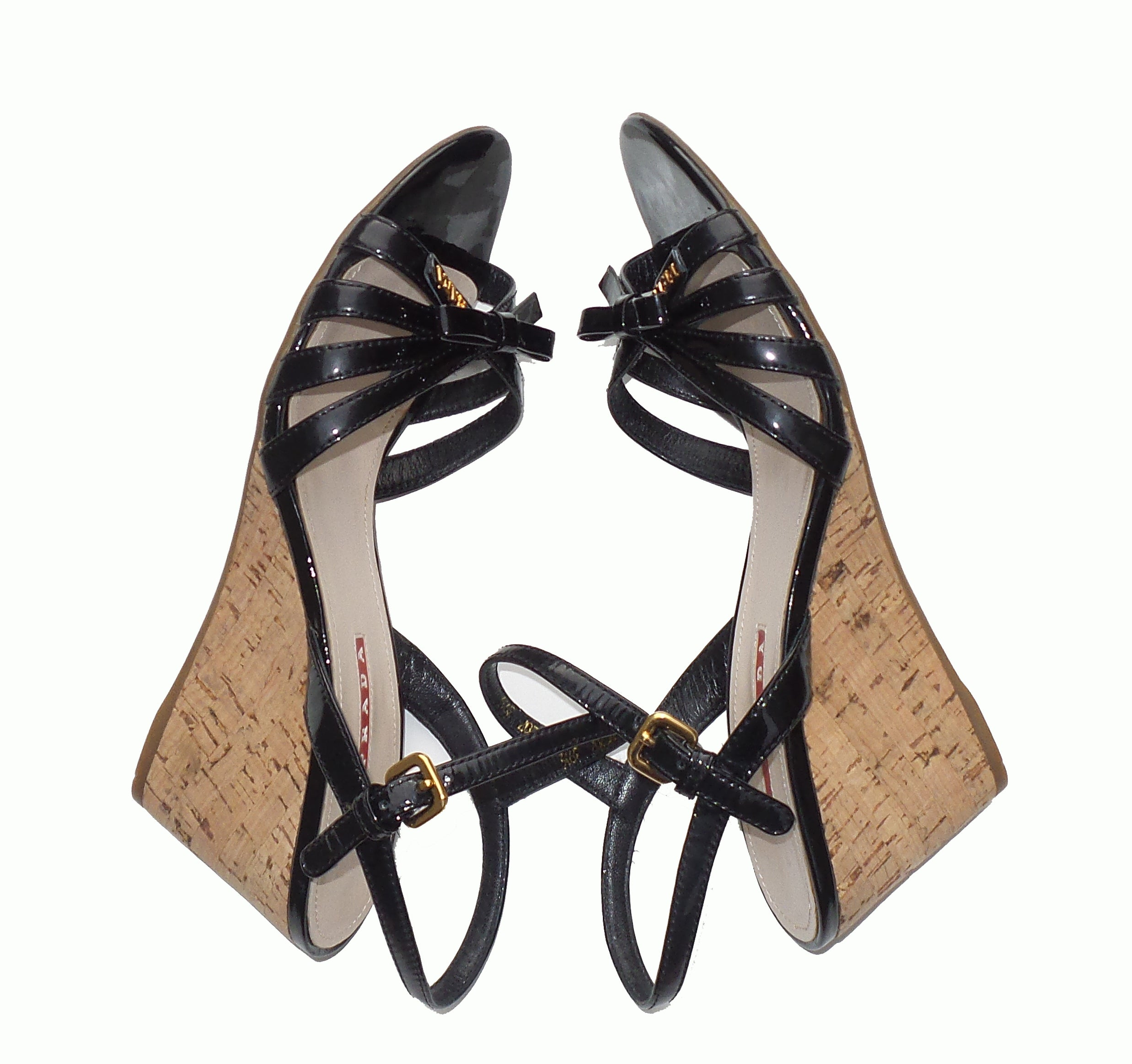 'Sold' PRADA Sport Black Patent Leather Strappy Bow Cork Wedge Heel Sandals 39.5