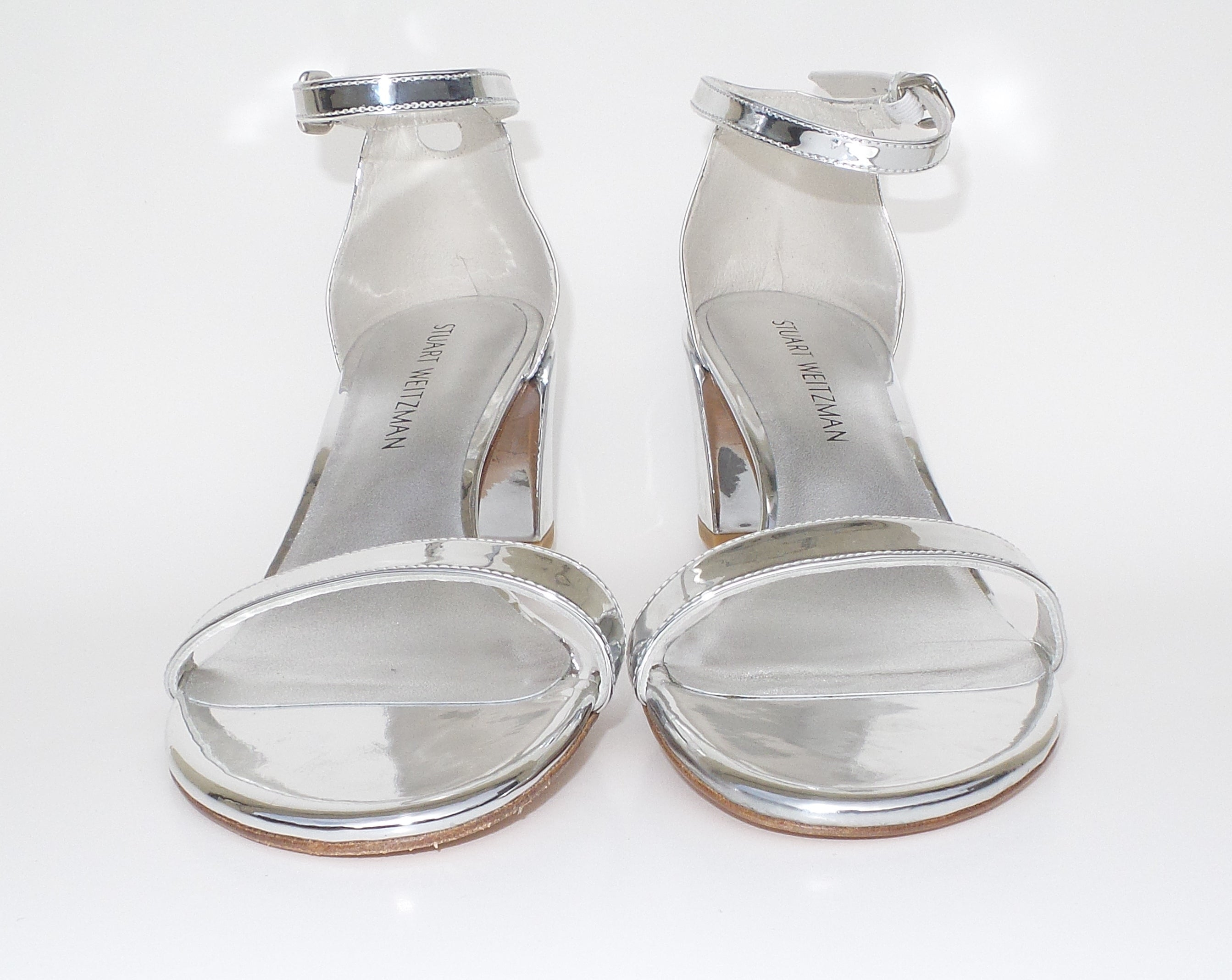 STUART WEITZMAN Simple Metallic Silver Leather 55mm City Block Heel Sandals 9 M