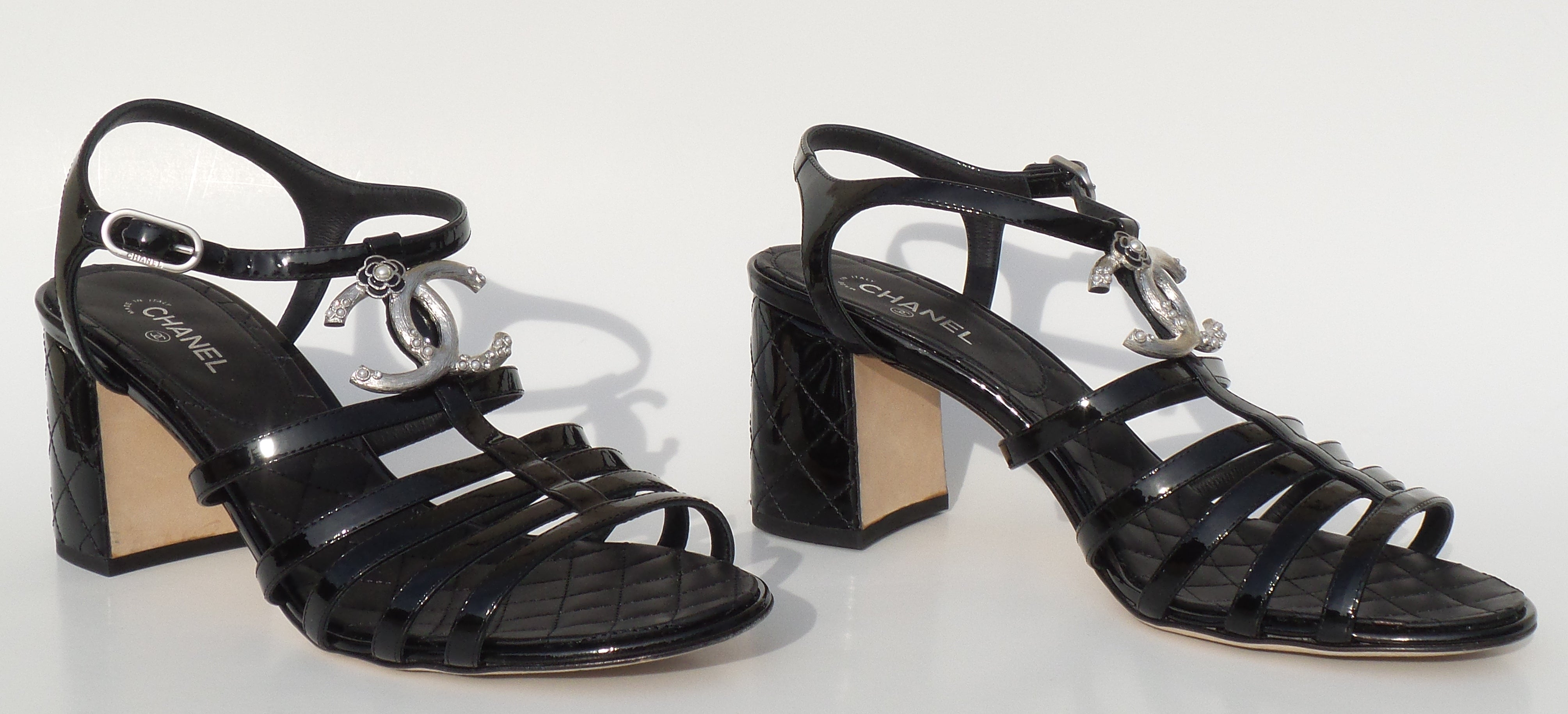 0e23b31f021  Sold  CHANEL 17P Black Patent Leather Pearl Silver CC Quilted Block Heel  Sandals 39.5 ·