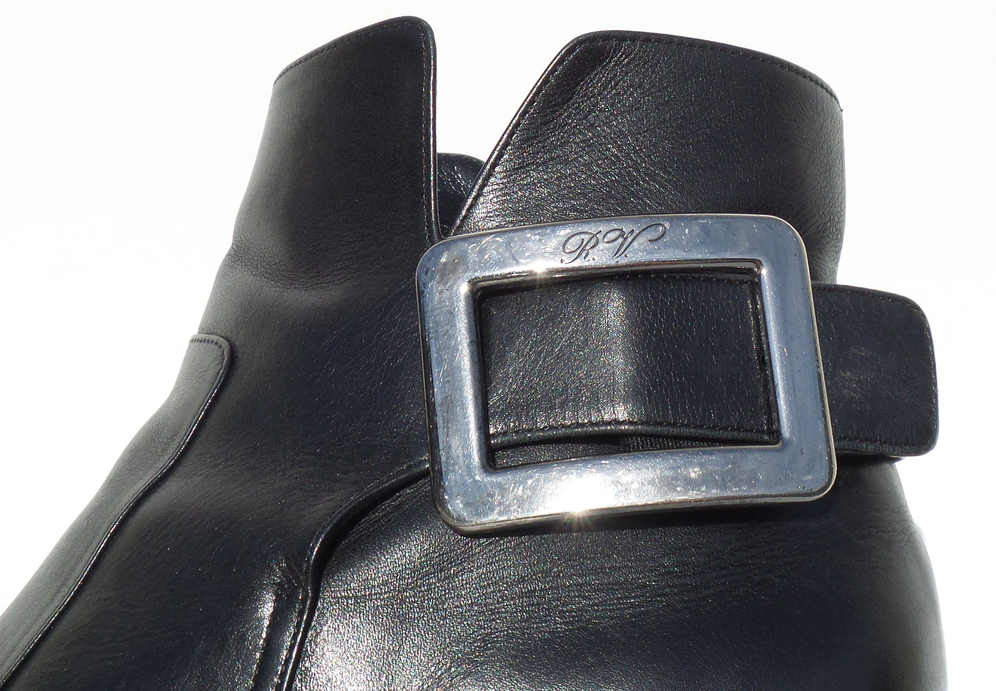 'Sold' ROGER VIVIER Polly Black Leather Silver Side Buckle Block Heel Ankle Boots 39 FC