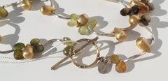 FRANCA Green Brown Gold Vermeil Clustered Teardrop Gemstone Silver Long Necklace