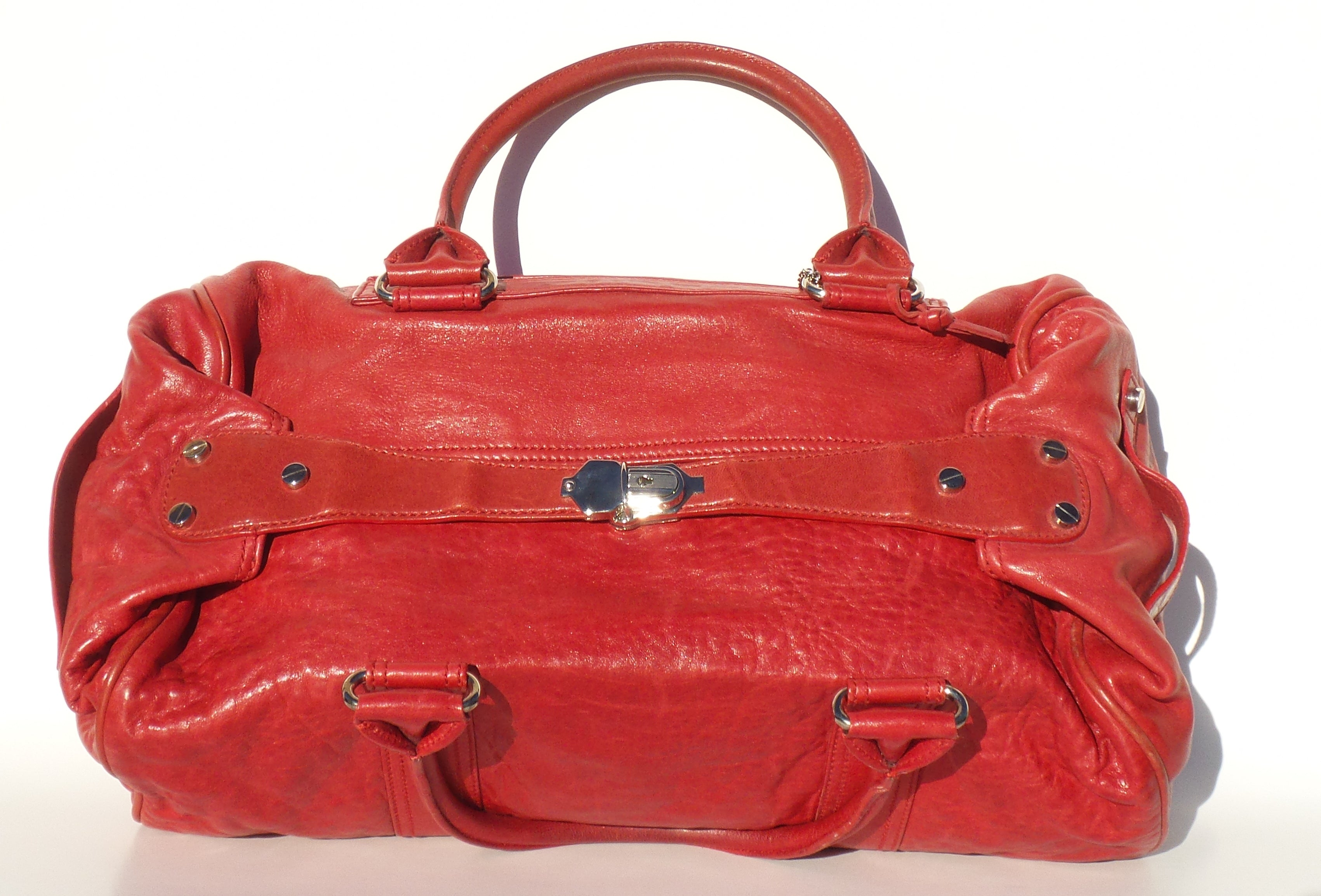 BALENCIAGA Red Lambskin Leather Silver HW Bacon Whistle Satchel Tote Bag Duffle