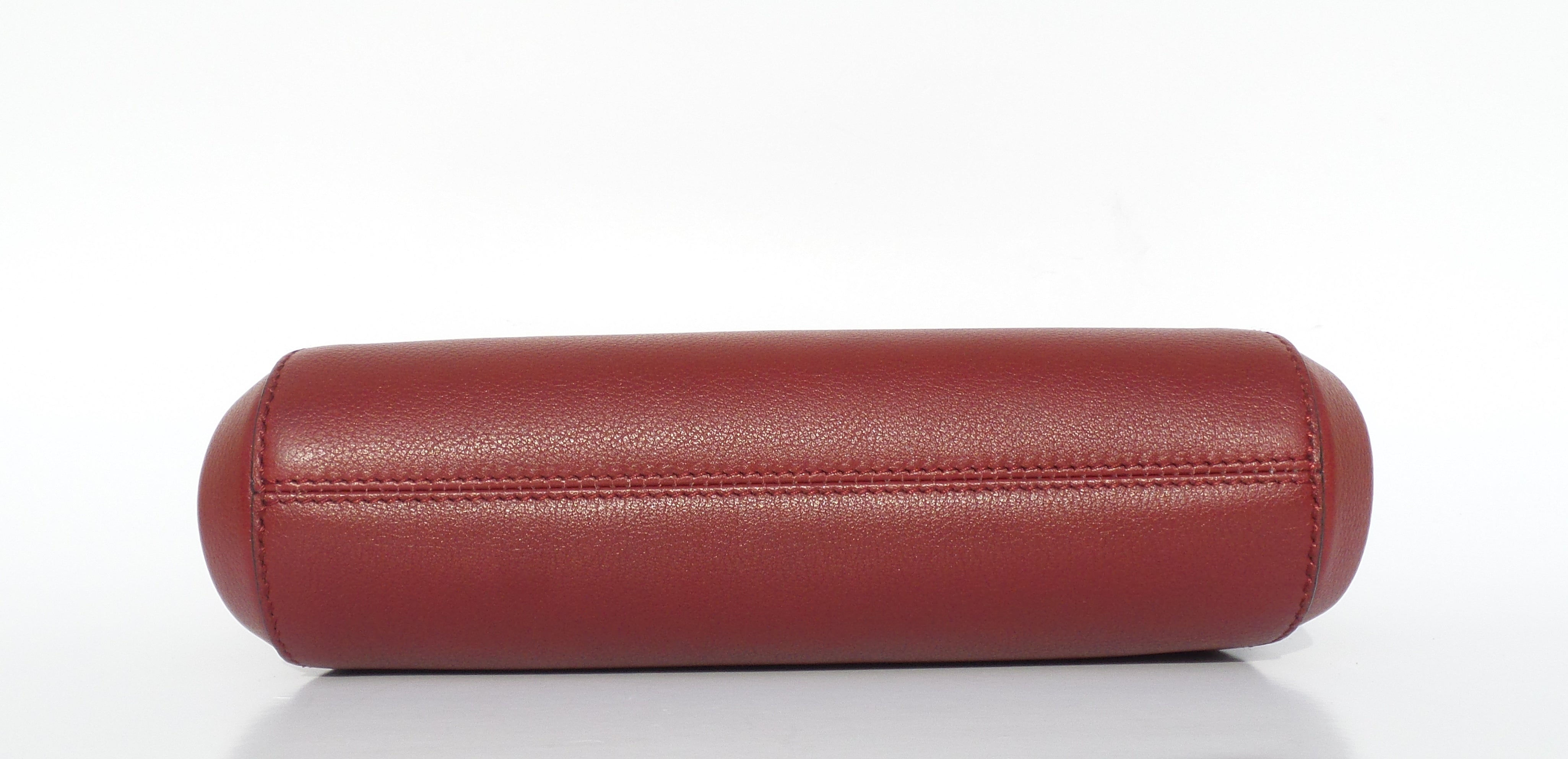 CARTIER C DE Burgundy Dark Red Taurillon Bull Leather Small Gold Zip Clutch Bag