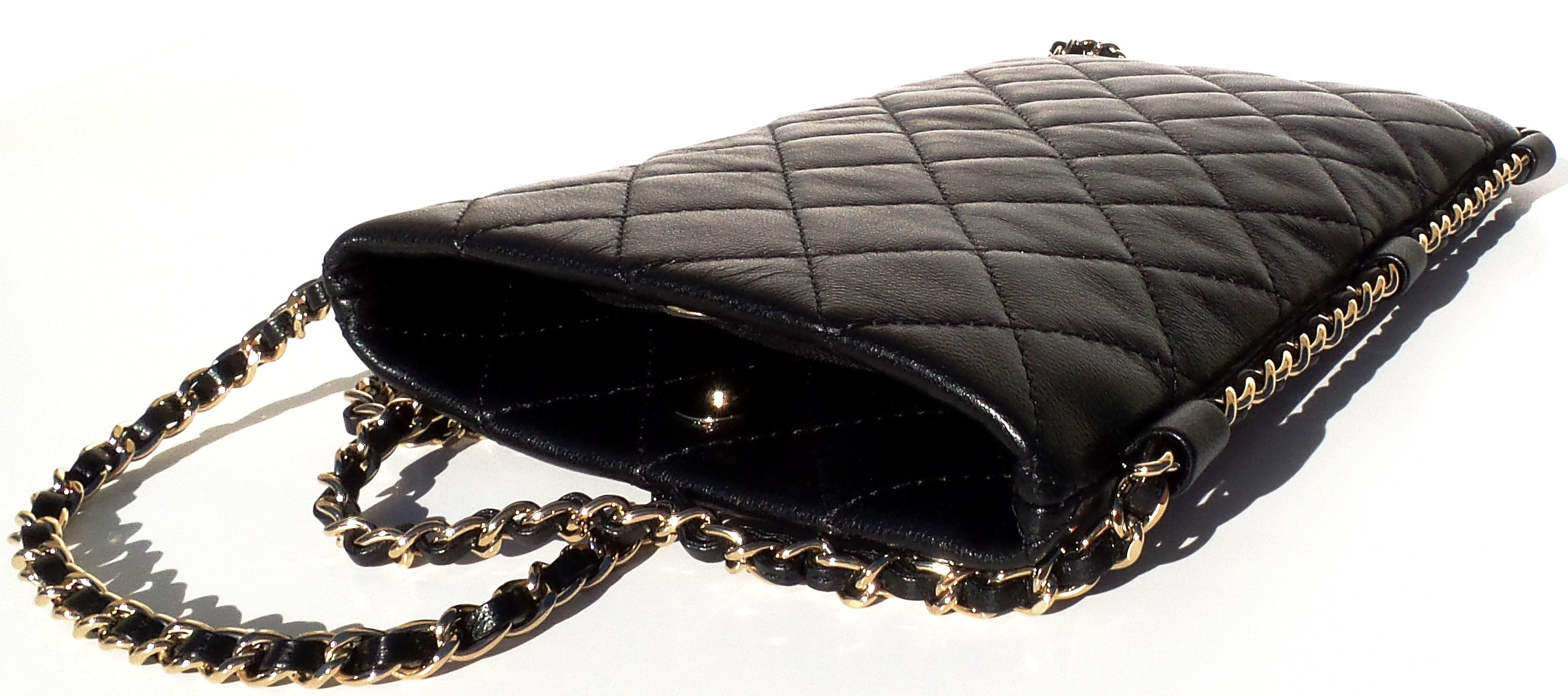 'Sold' CHANEL 18C Black Quilted Leather Clutch w Chain Around Crossbody Bag Phone Pouch