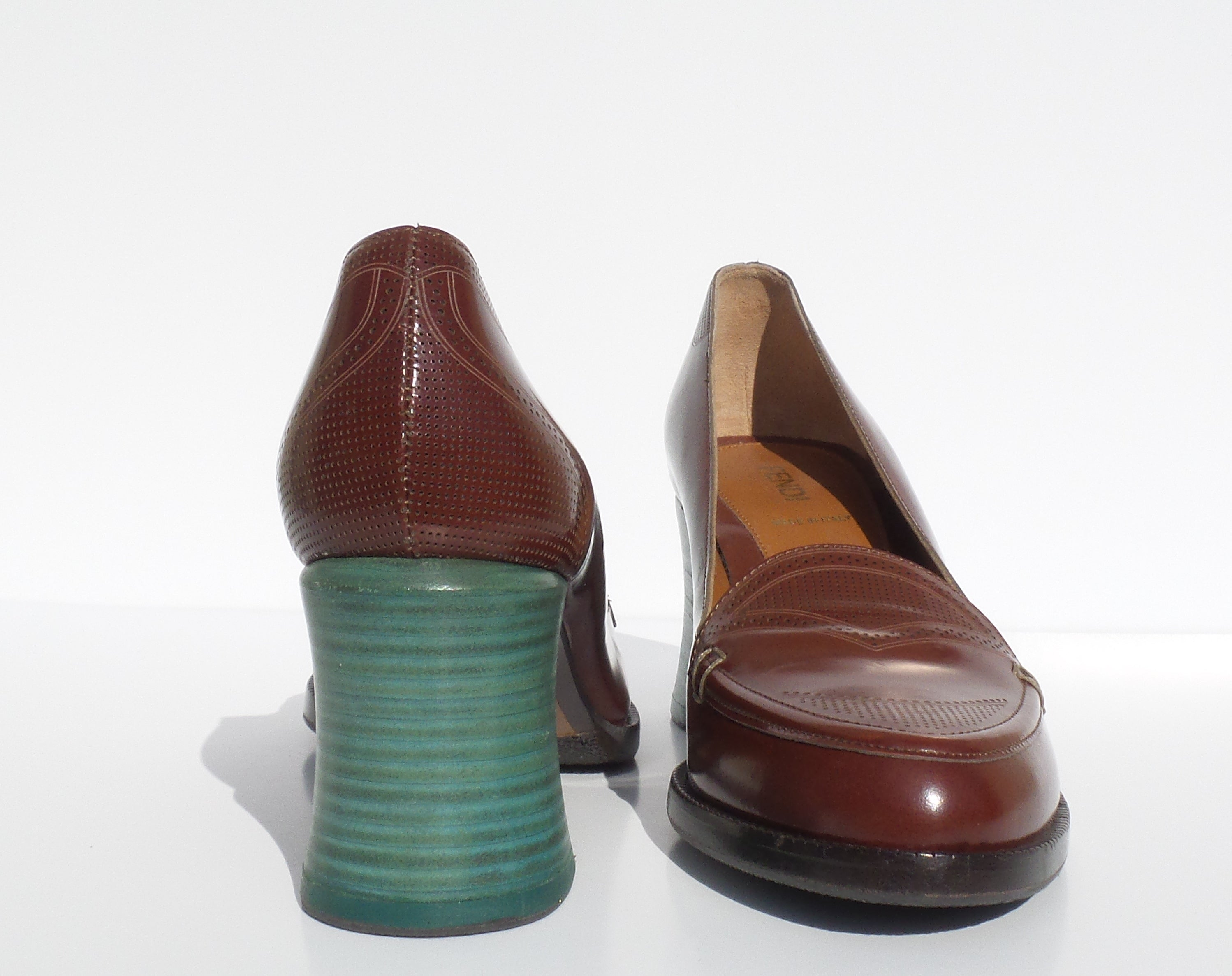 'Sold' FENDI Austen Colorblock Brown Polished Leather Teal Green Heel Loafer Pumps 39