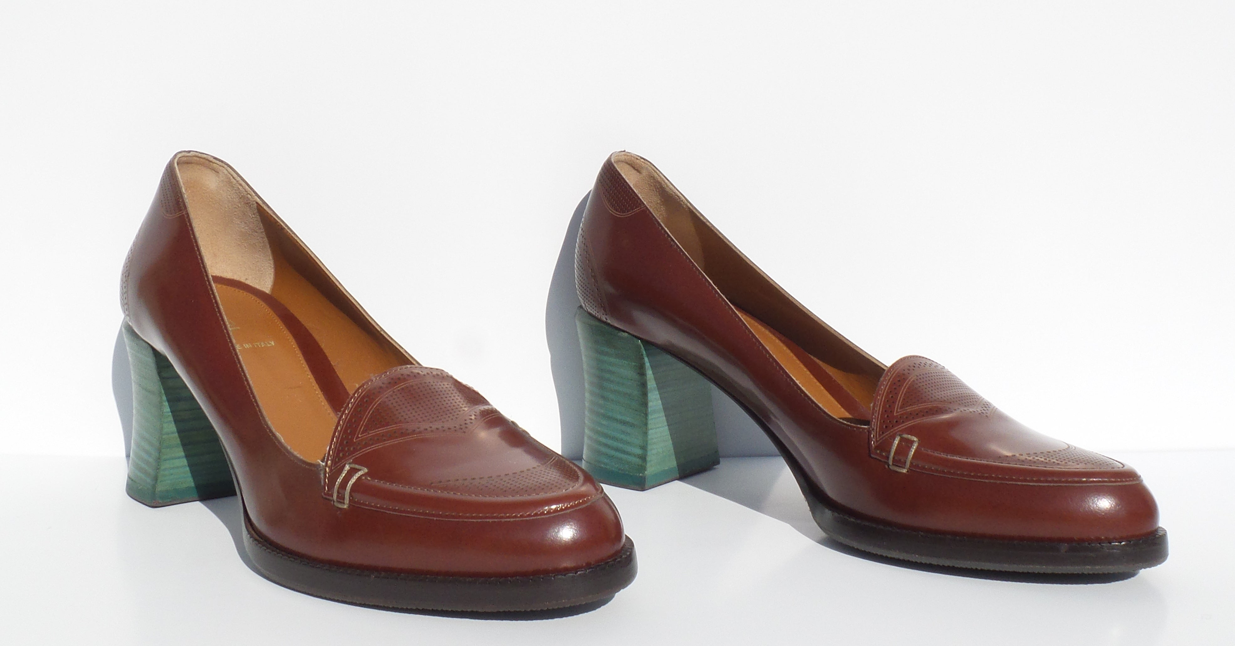 FENDI Austen Colorblock Brown Polished Leather Teal Green Heel Loafer Pumps 39