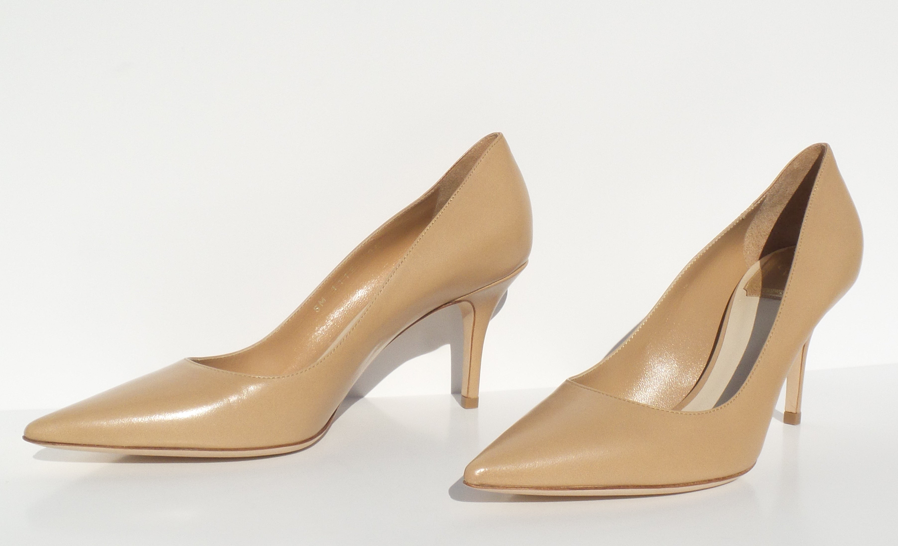 eeb7f22b479  Sold  CHRISTIAN DIOR Cherie 8cm Beige Tan Nude Leather Pointy Toe Cla –  Encore Resale.com
