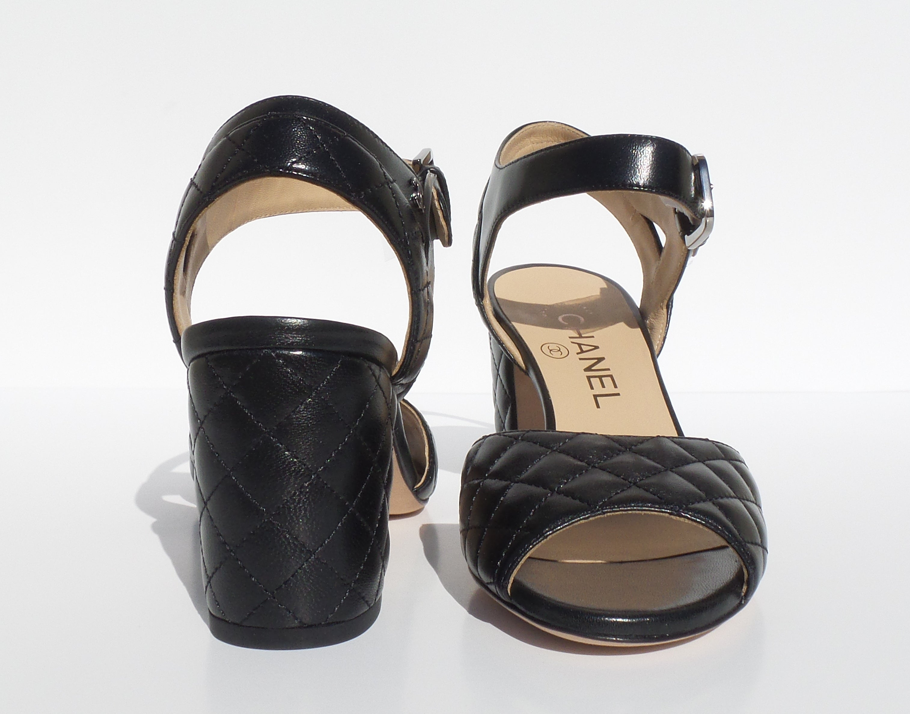 CHANEL 16P Black Quilted Leather Silver CC Ankle Strap Block Heel Sandals 36 NOB