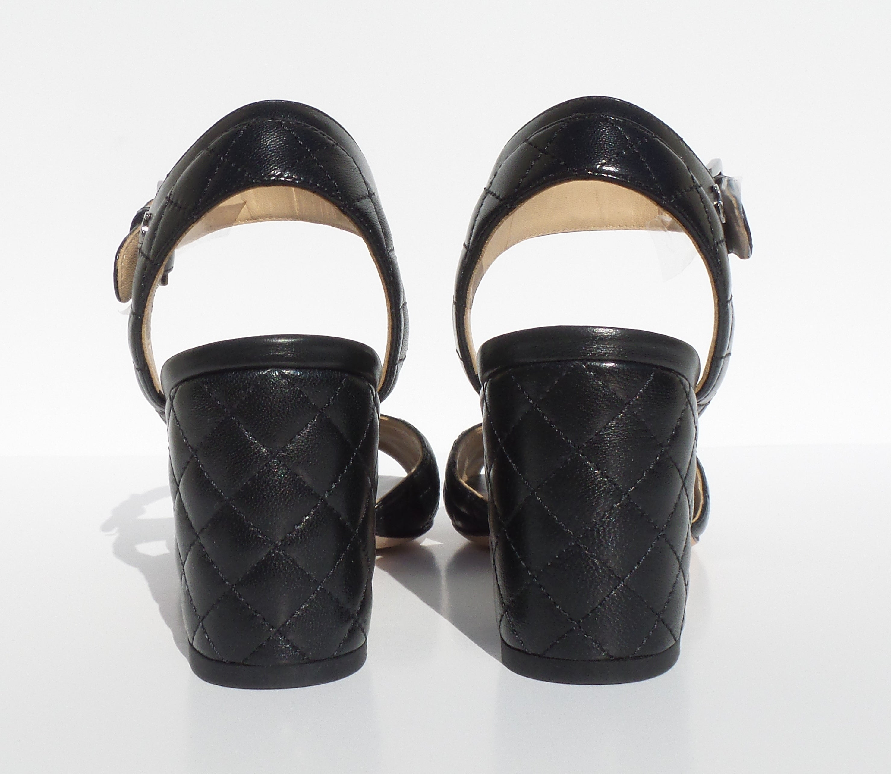 'Sold' CHANEL 16P Black Quilted Leather Silver CC Ankle Strap Block Heel Sandals 36 NOB