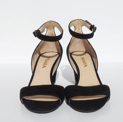 PRADA Black Soft Suede Open Toe Buckle Ankle Strap Demi Wedge Heel Sandals 36.5