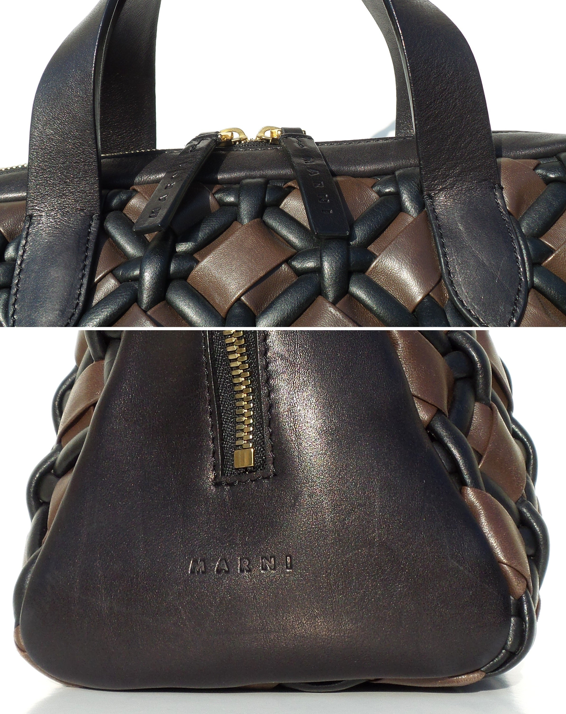 MARNI SS12 Brown Black Braided Woven Leather Top Zip Satchel Bowler Tote Bag GUC