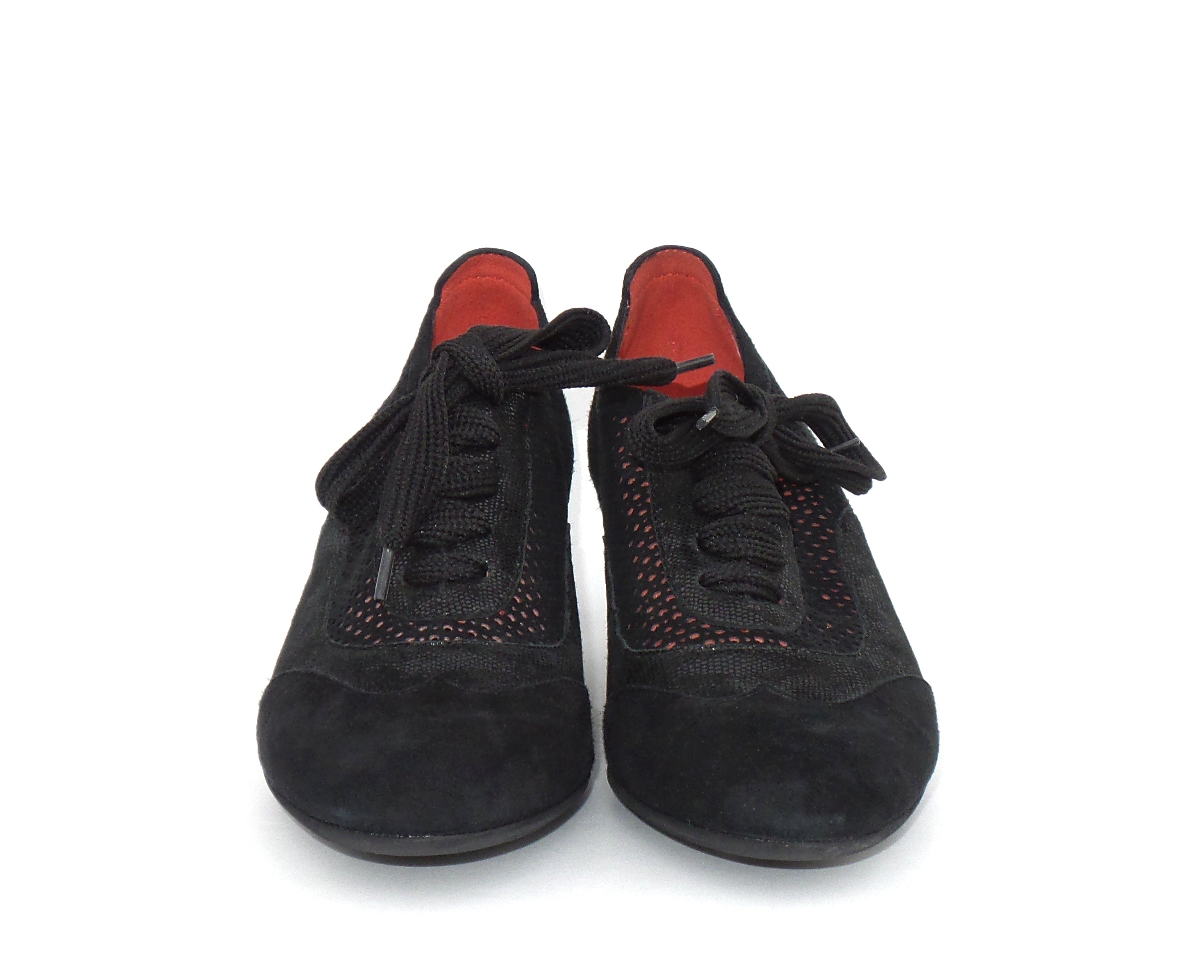 'Sold' PAS DE ROUGE C301 Black Perforated Suede Patent Lace Up Oxford Pumps 38.5 $450