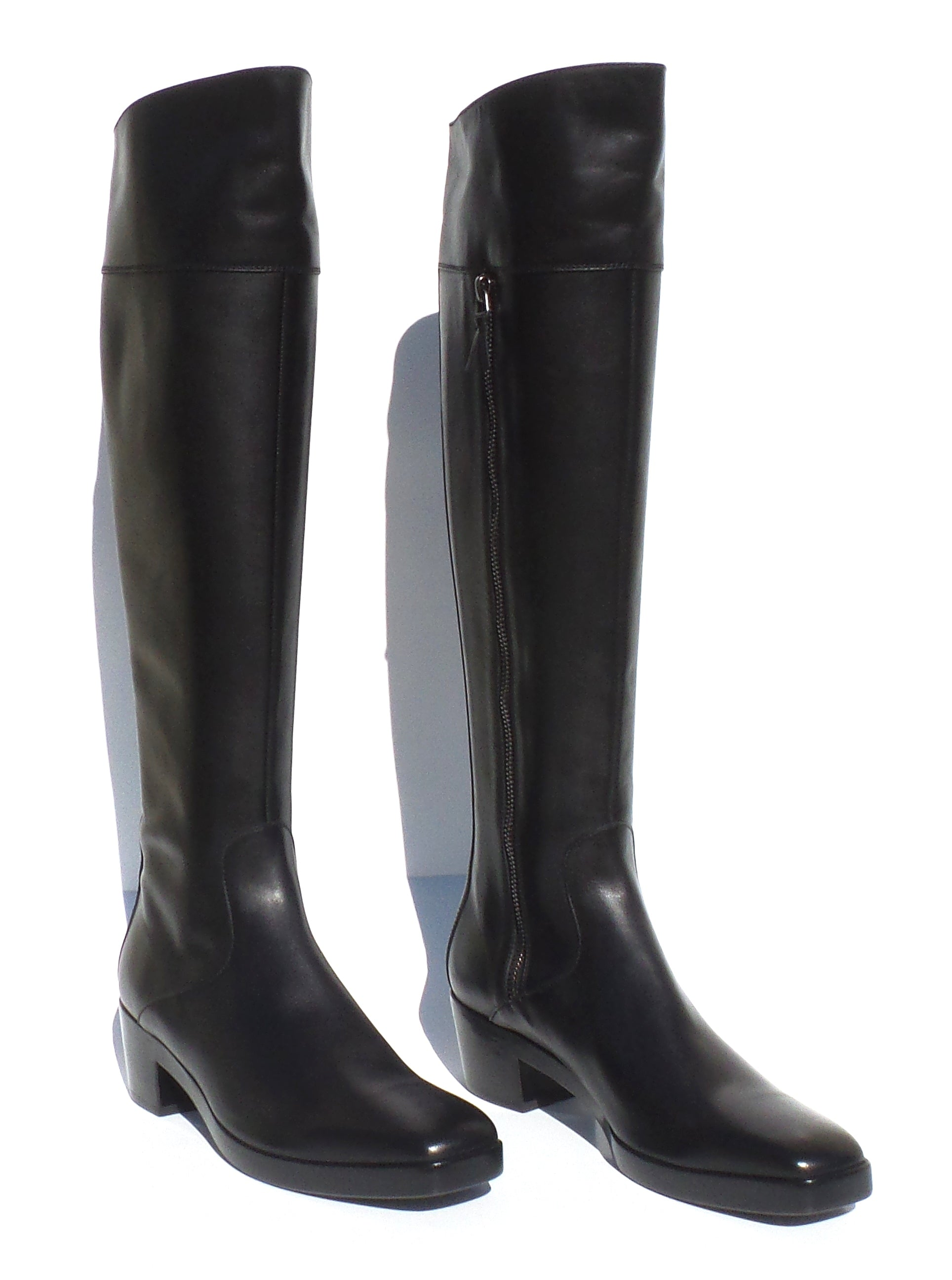 'Sold' BALENCIAGA Black Leather Square Toe Block Heel Inner Zip Motorcycle Boots 38 NWD