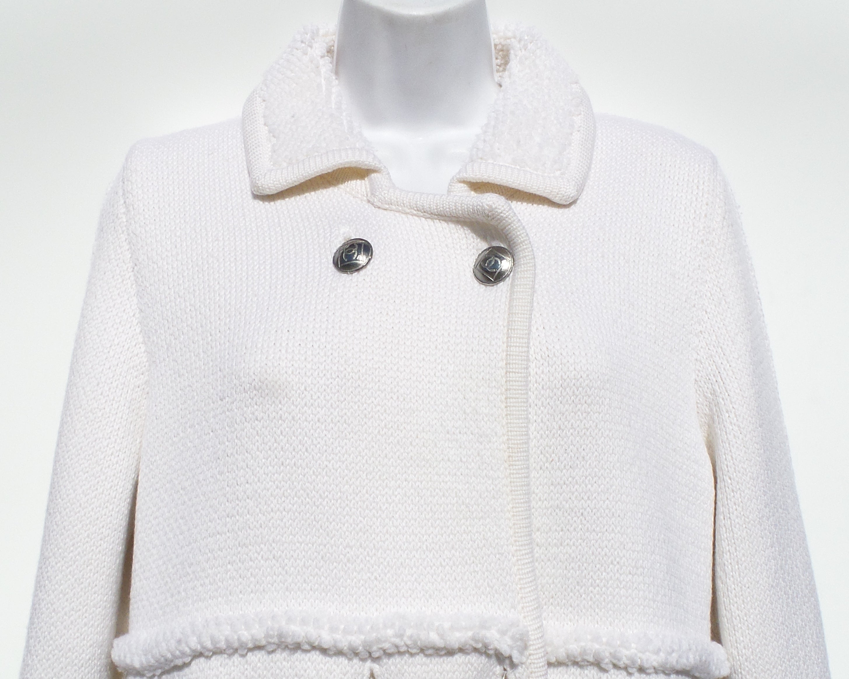 CHANEL 08A Ivory Creme Double Breast Silver CC Wool Knit Sweater Jacket Coat 44