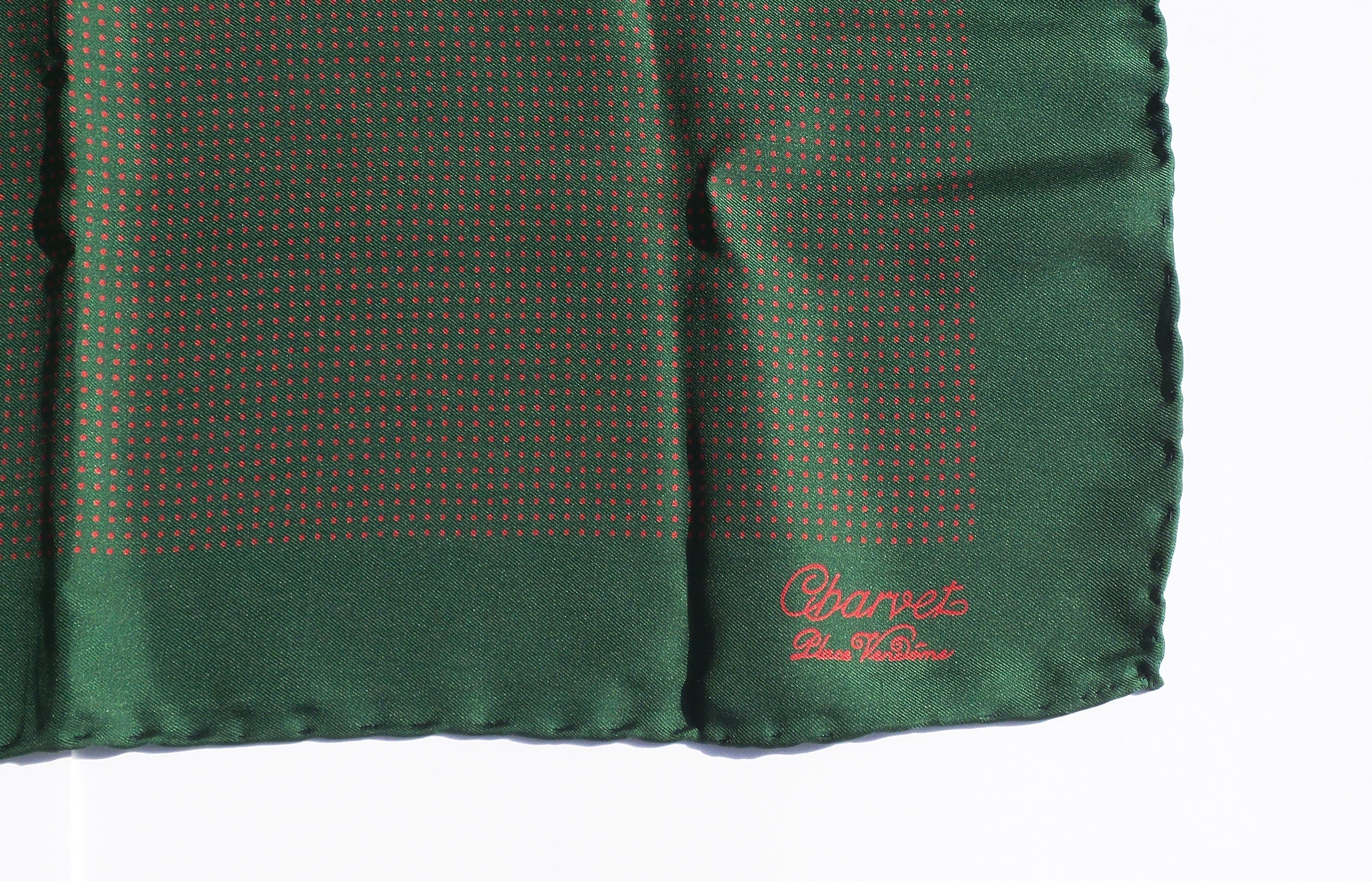 CHARVET Place Vendome Green Red Polka Dot Silk Twill Pocket Square Scarf 18.5""