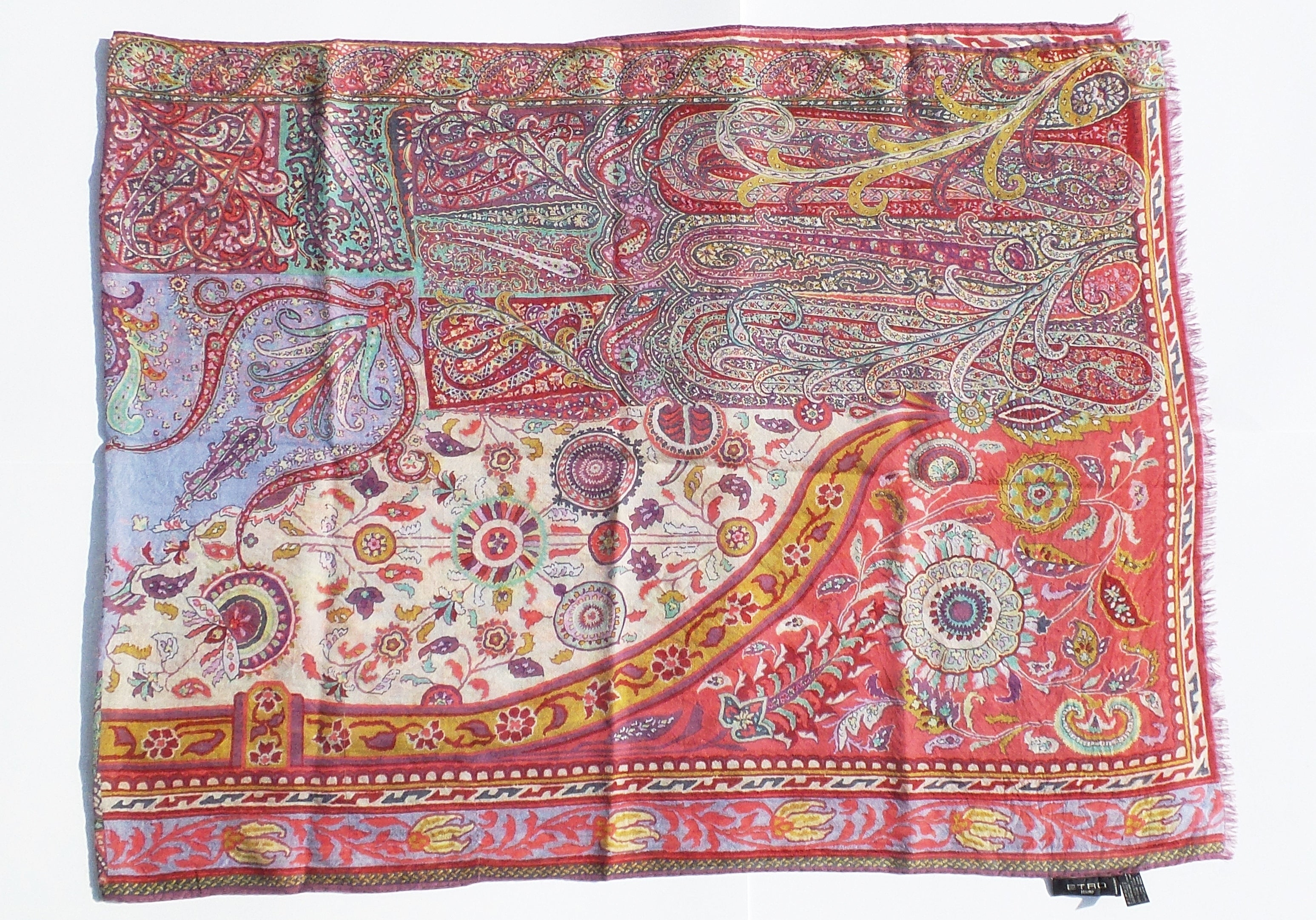 ETRO Multi Color Floral Paisley Print Wool Silk Gauze Self Fringe Trim Scarf GUC