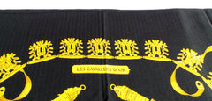 'Sold' HERMES Black Gold Les Cavaliers D'Or Cashmere Silk GM Shawl Scarf Rybaltchenko
