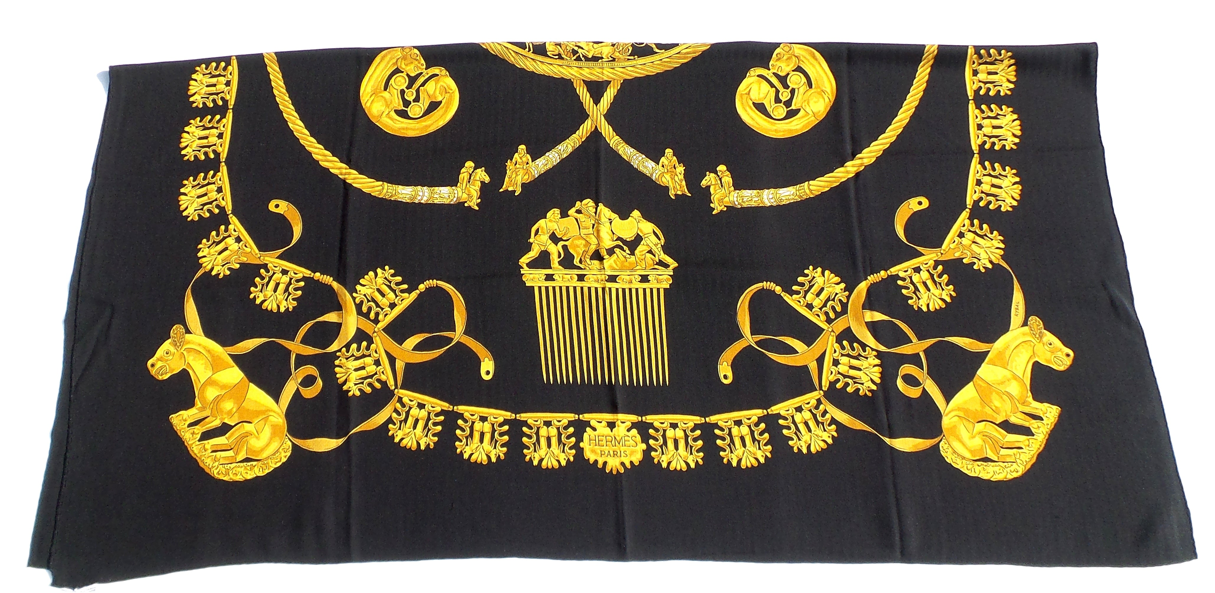 HERMES Black Gold Les Cavaliers D'Or Cashmere Silk GM Shawl Scarf Rybaltchenko