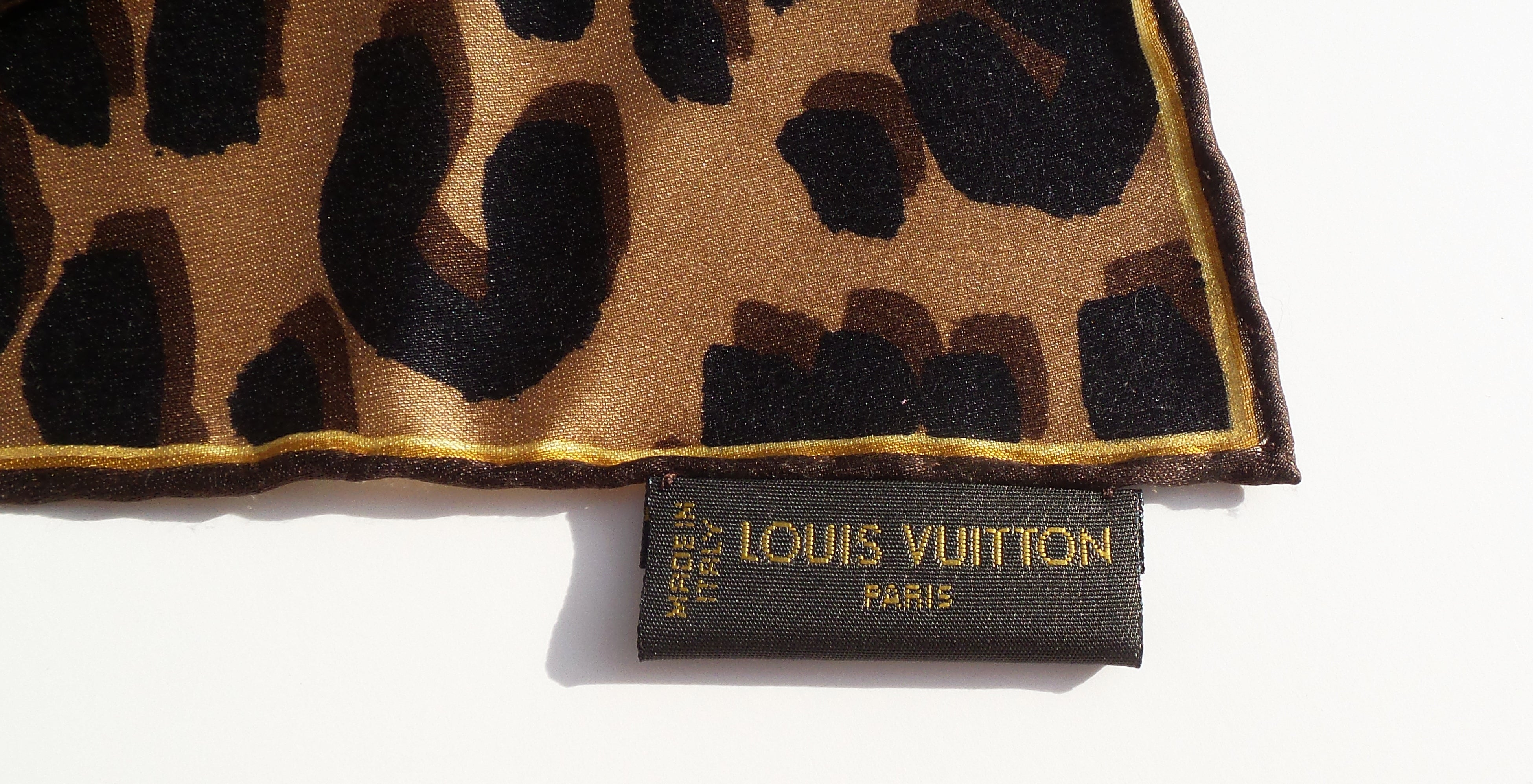 "'Sold' LOUIS VUITTON Brown Monogram Leopard Print Silk Twill Square Scarf 26"" M72124 GC"
