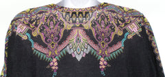 ETRO Multi Color Floral Paisley Print Cashmere Fine Knit Pullover Sweater Top 48