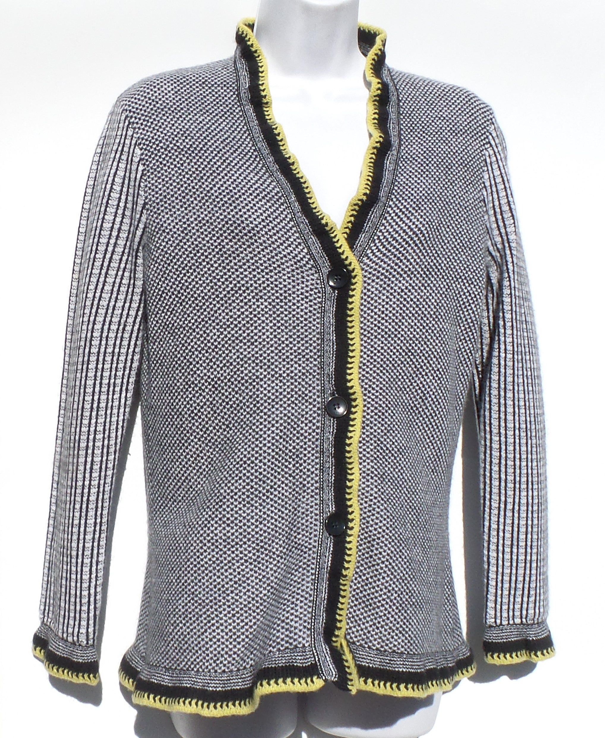 ETRO Black White Mixed Knit Citrus Yellow Lime Trim V Neck Cardigan Sweater 46