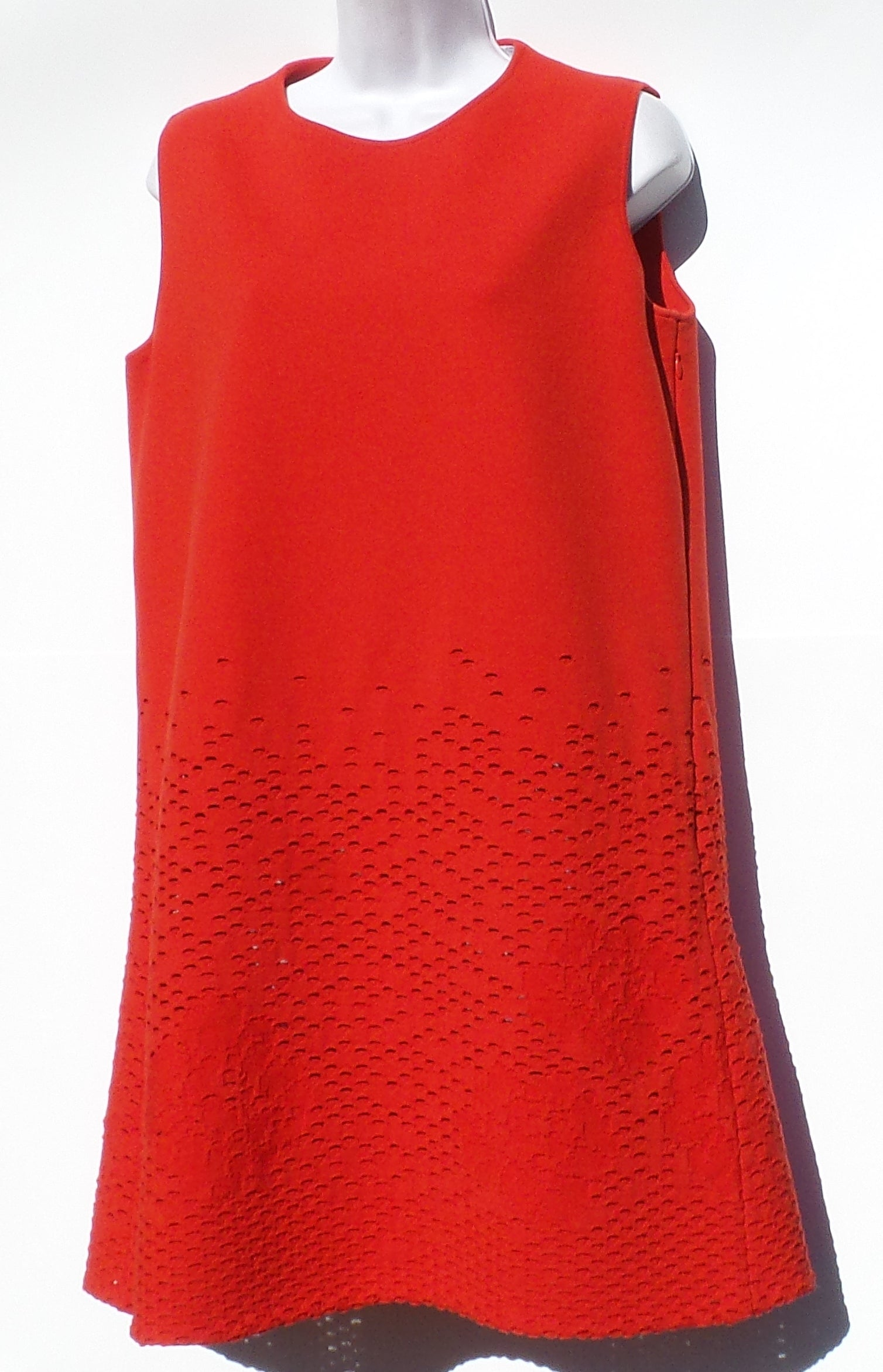 CHRISTIAN DIOR Red Floral Brocade Cut Out Wool Knit Sleeveless Shift Dress 44 8