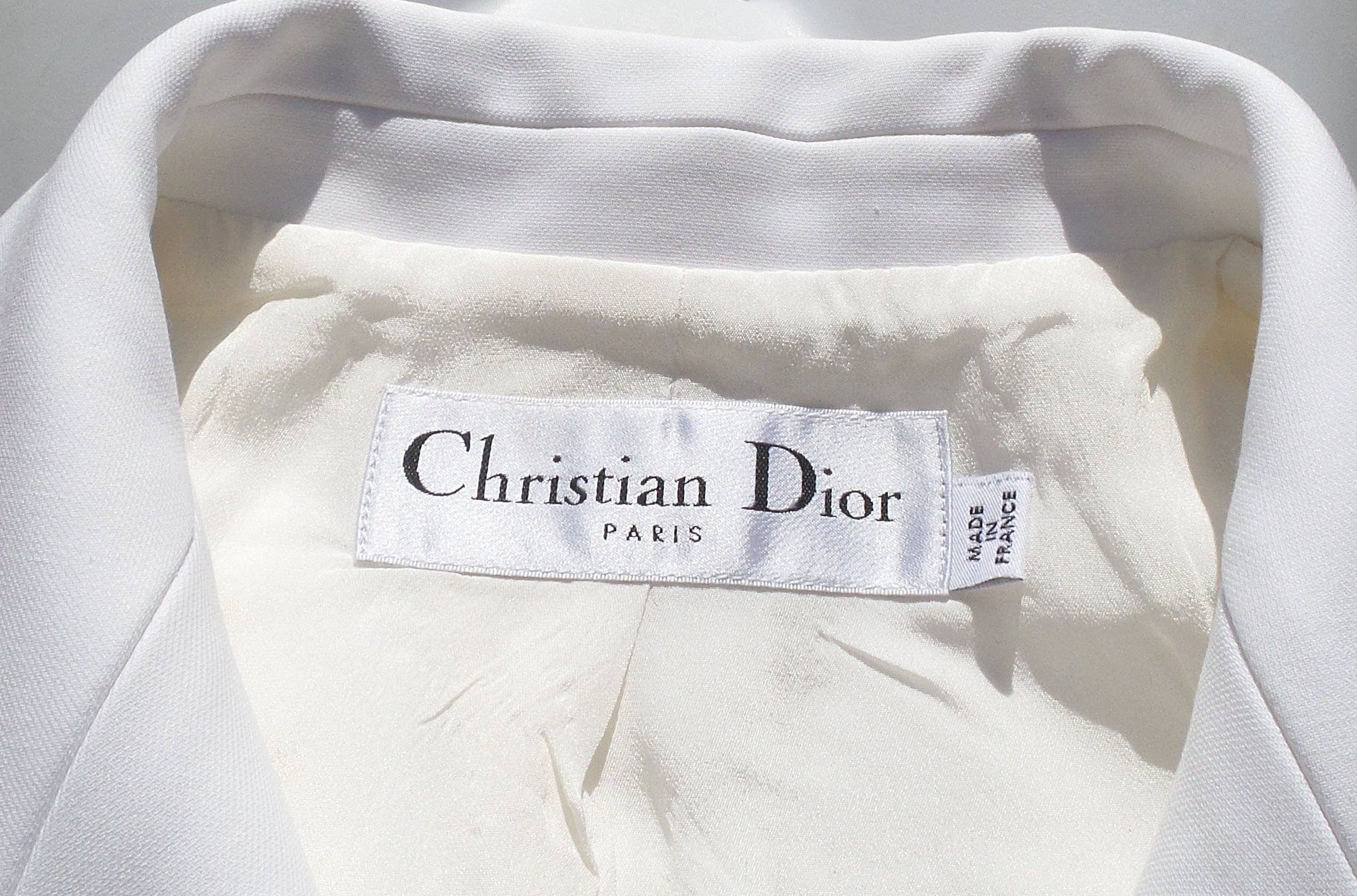 CHRISTIAN DIOR PF15 White Cotton Embroidered Sequin Patch Blazer Jacket IT 46 10