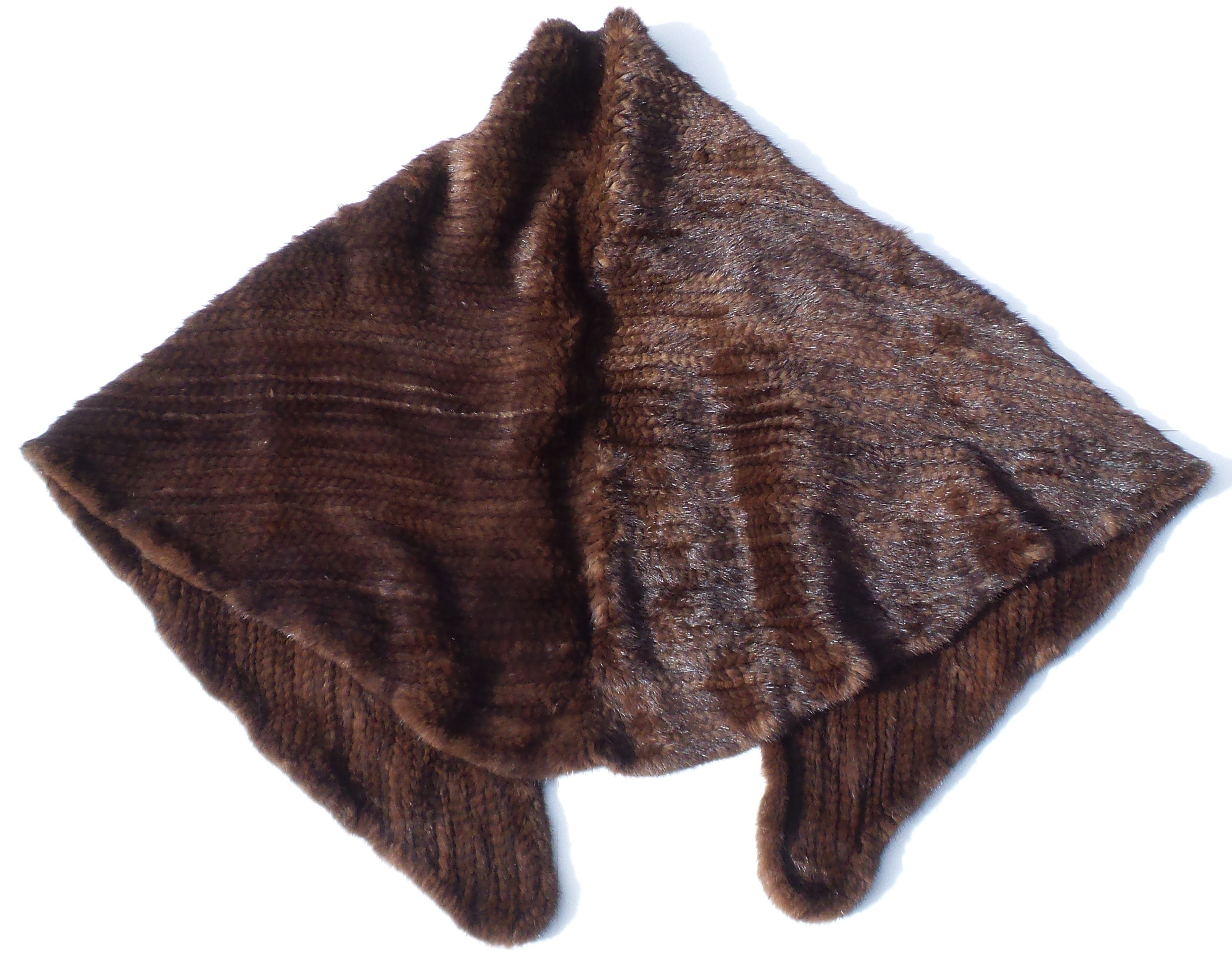 TRILOGY Collections Natural Brown Mink Fur Woven Knit Cape Hook Eye Close Poncho