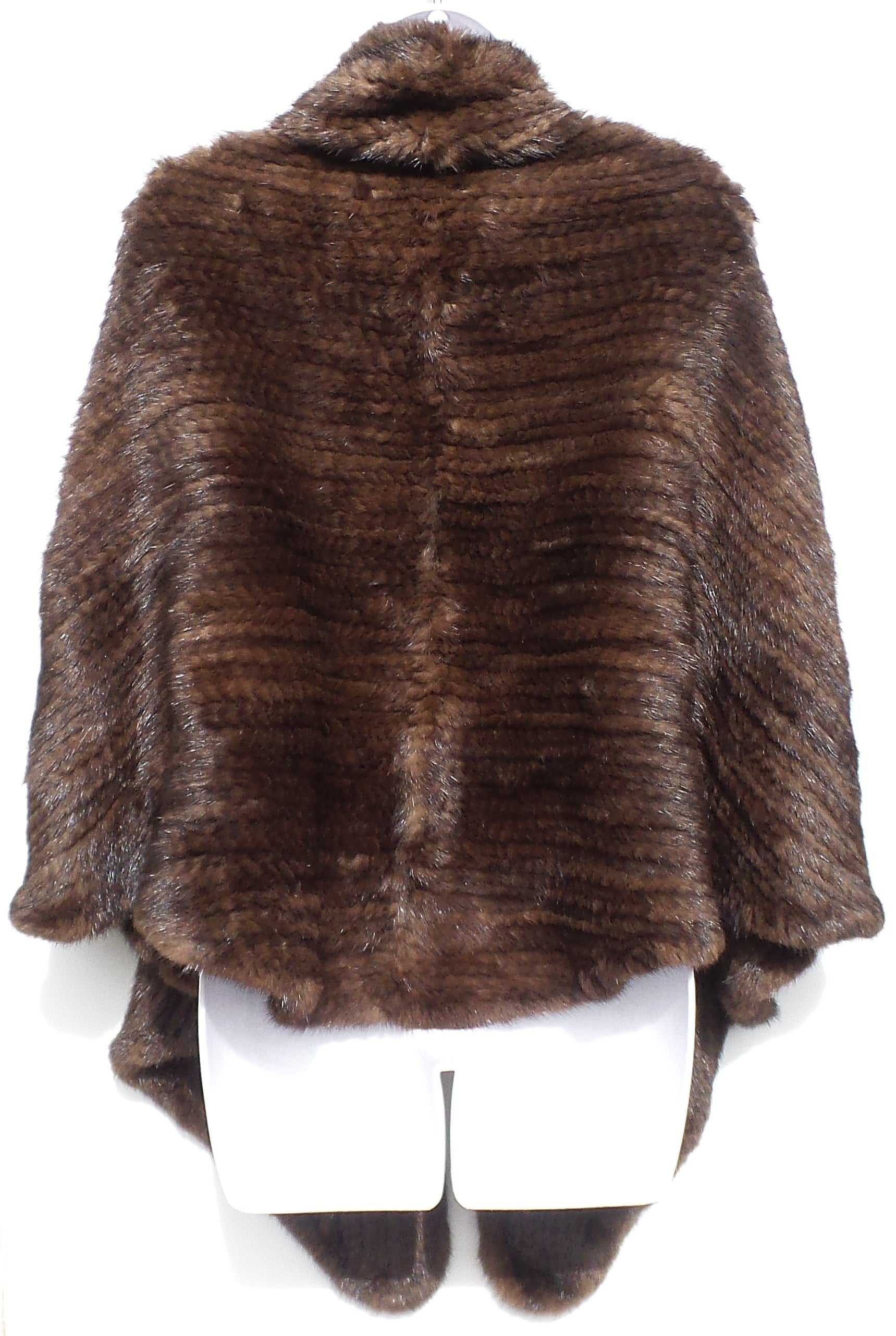 'Sold' TRILOGY Collections Natural Brown Mink Fur Woven Knit Cape Hook Eye Close Poncho