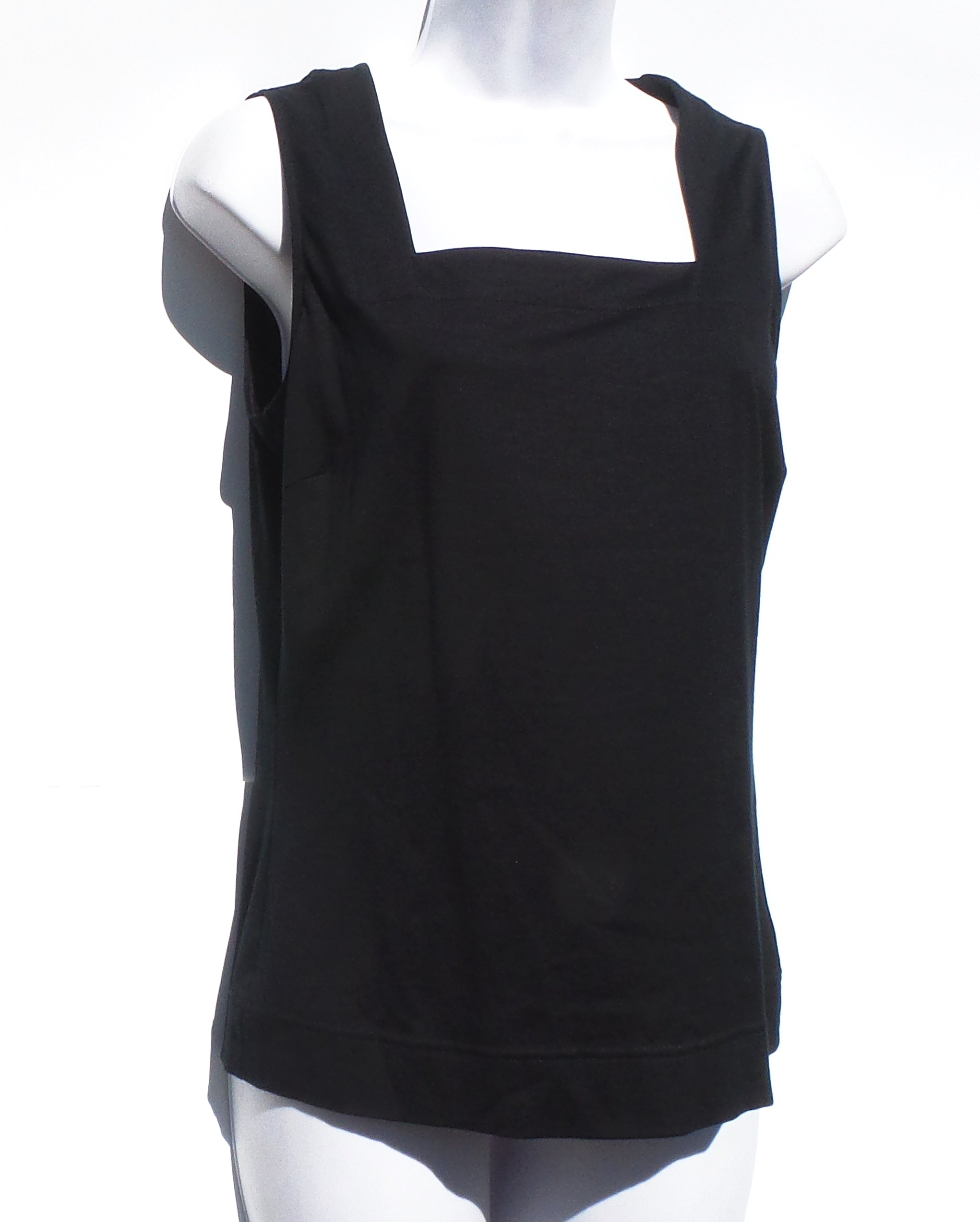 'Sold' AKRIS Punto Black Cotton Square Neckline Sleeveless Jersey Tank Top 8 FR 40 $275