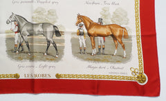 'Sold' HERMES Red Gold Ivory Gray Les Robes Equestrian Silk Scarf 90cm Ledoux VINTAGE