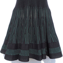 ALAÏA Black Green Striped Sleeveless Fit and Flare Wool Blend Mini Dress 40 GUC
