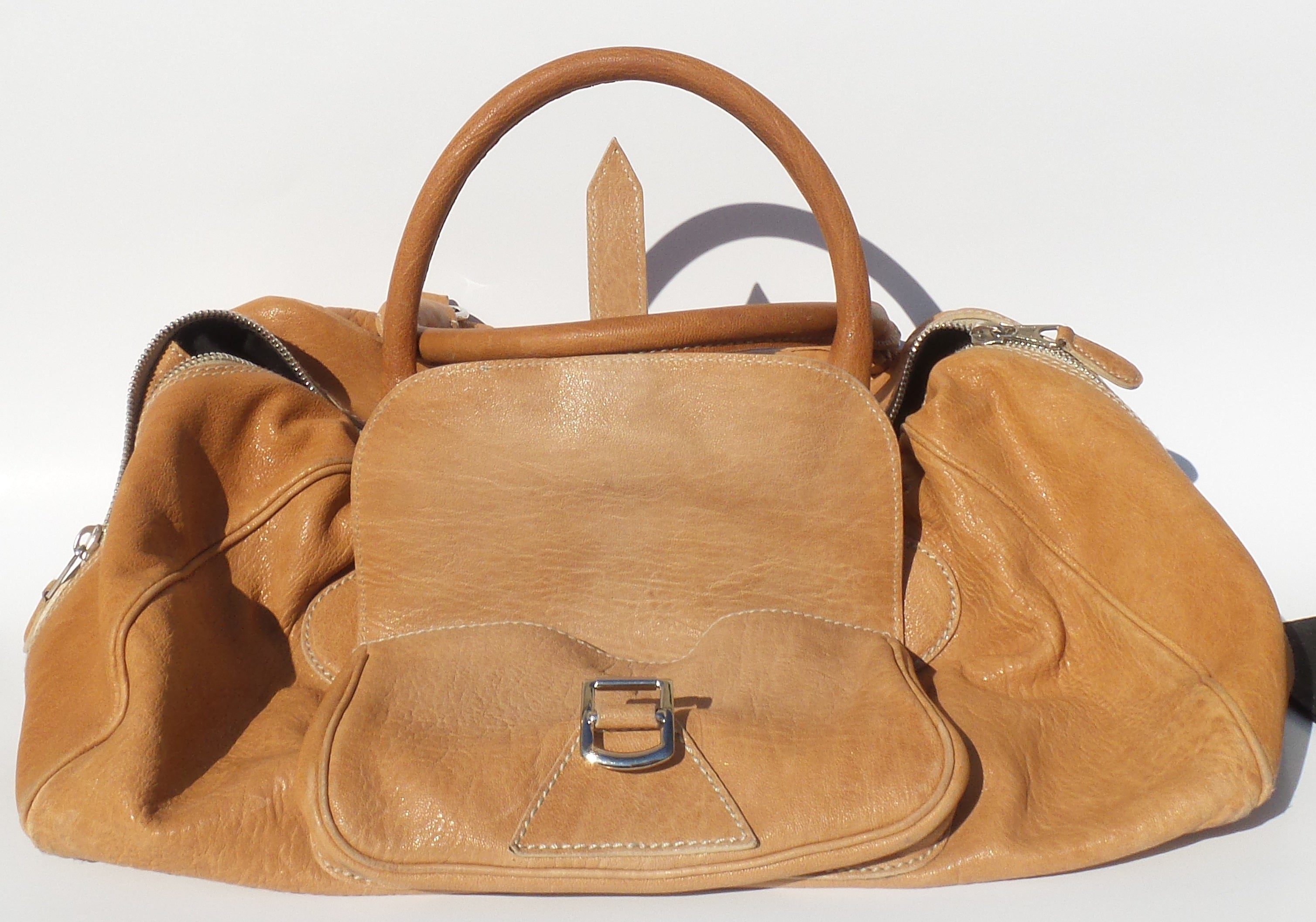 BALENCIAGA Tan Caramel Leather Front Flap Pocket Silver HW Satchel Tote Bag '06
