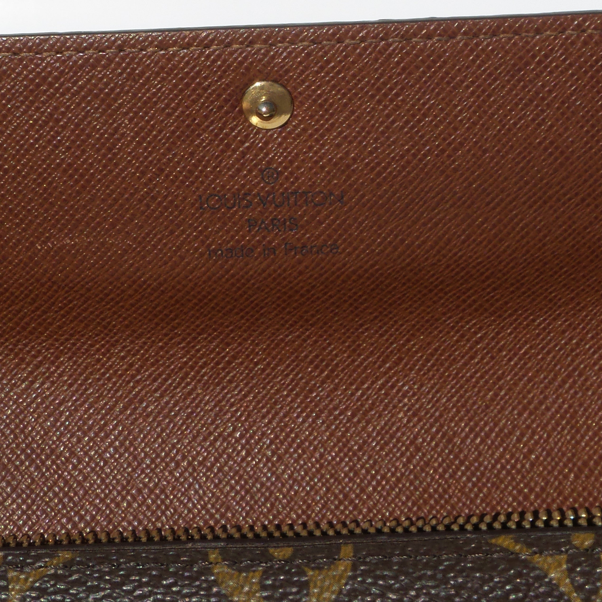 LOUIS VUITTON Sarah Brown Tan Monogram Coated Canvas Snap Flap Clutch Wallet '05
