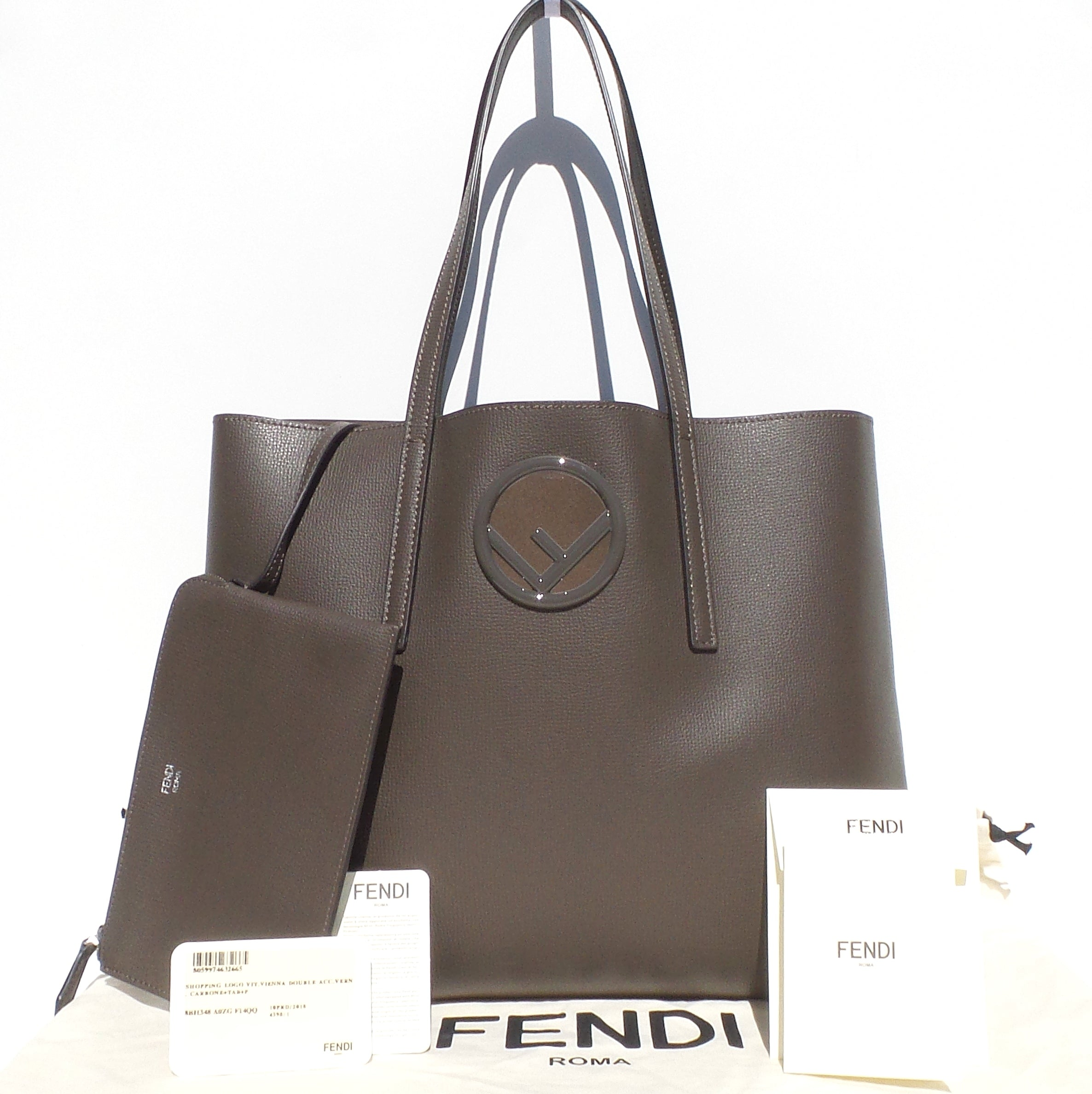 FENDI Carbone Tobacco Grey Taupe Calf Leather Logo Shopper Tote Bag Pouch $1290