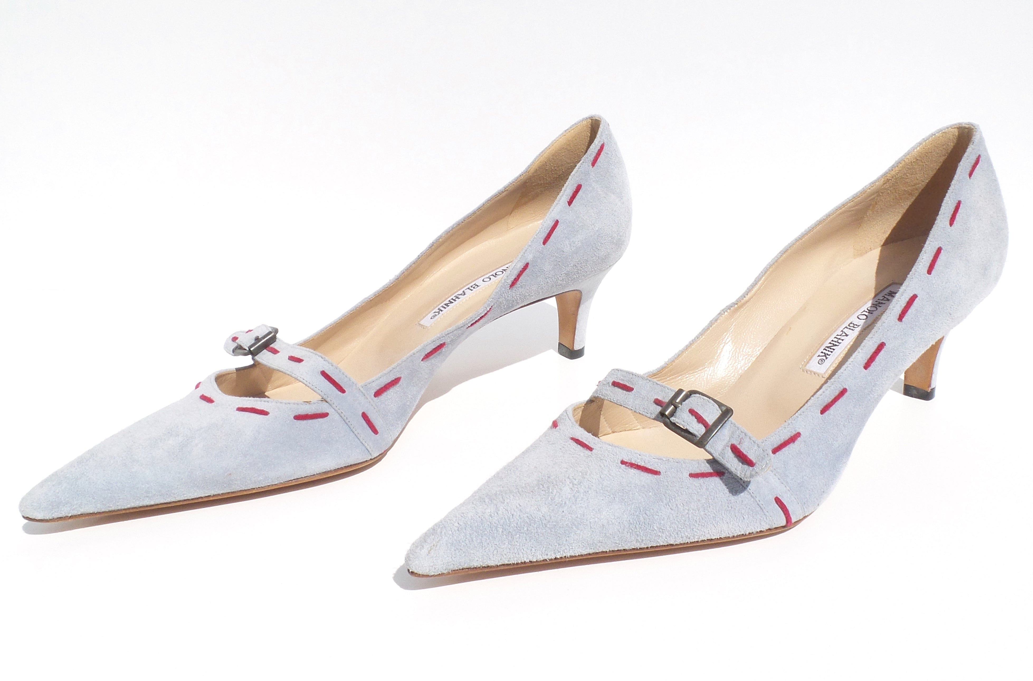 'Sold' MANOLO BLAHNIK Light Blue Suede Pink Stitched Buckle Point Toe Heels Pumps 40.5