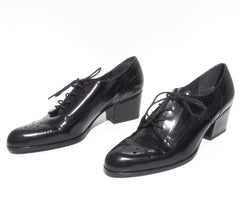 STUART WEITZMAN Black Patent Leather Lace Up Oxford Brogue Loafer Pumps 7 M GUC