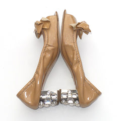 'Sold' MIU MIU Beige Tan Nude Patent Leather Bow Open Toe Crystal Heel Scrunch Pumps 37