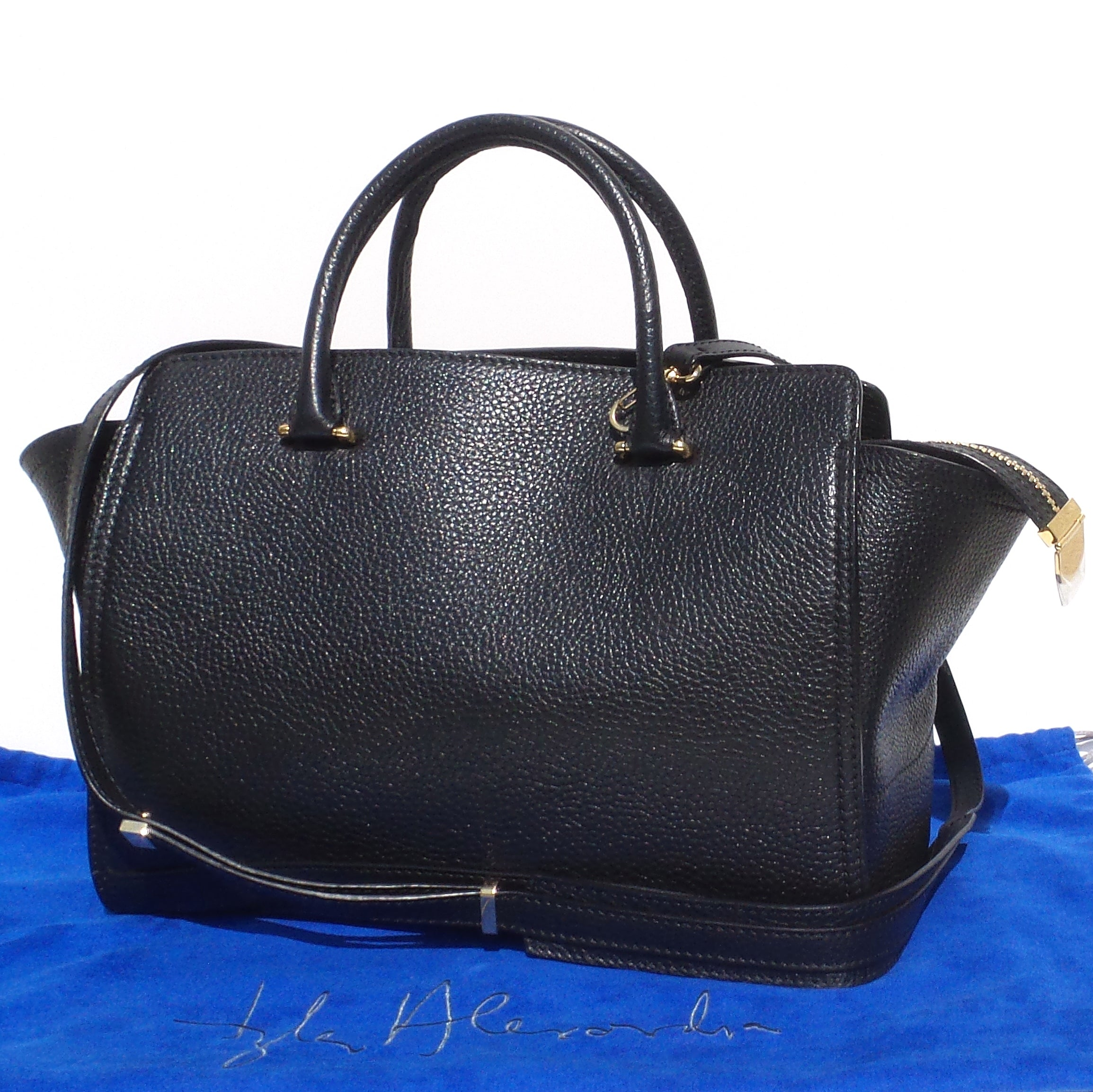 'Sold' TYLER ALEXANDRA ELLIS Black Grained Leather Gold HW Caroline Medium Tote Bag GUC